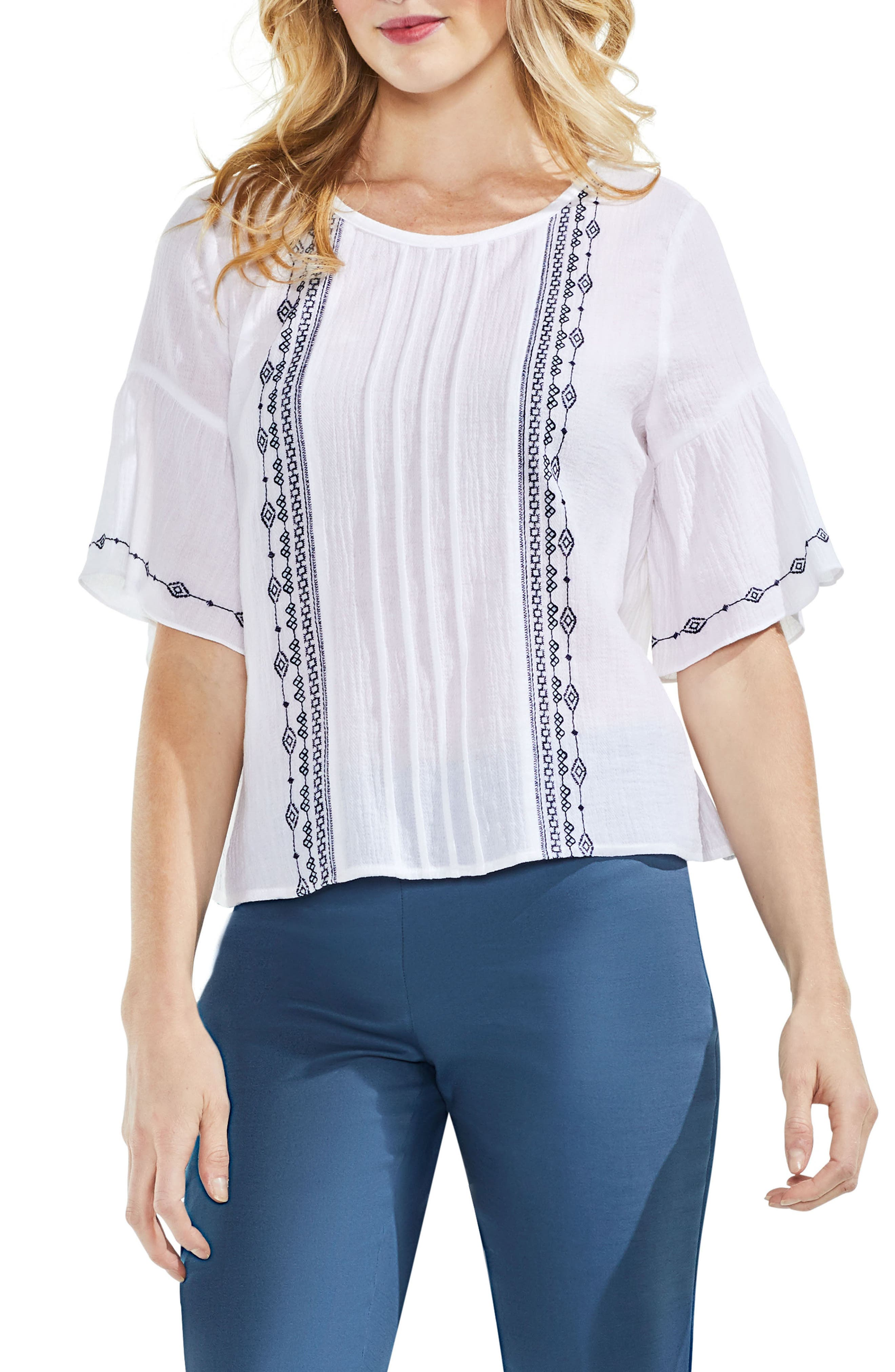 Embroidered Crinkle Cotton Top,                             Alternate thumbnail 3, color,                             Ultra White