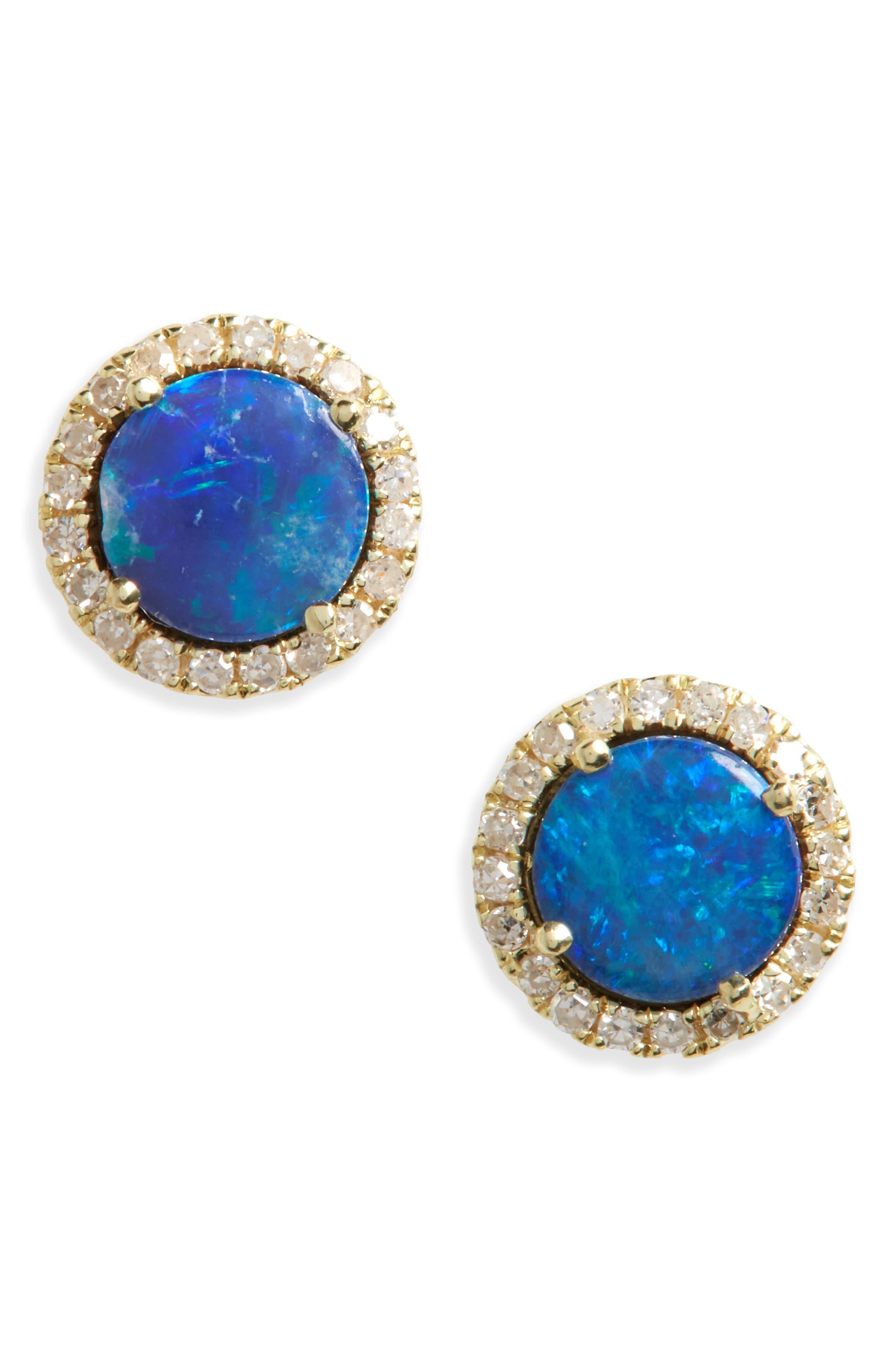 Meira T Opal and Diamond Pavé Stud Earrings
