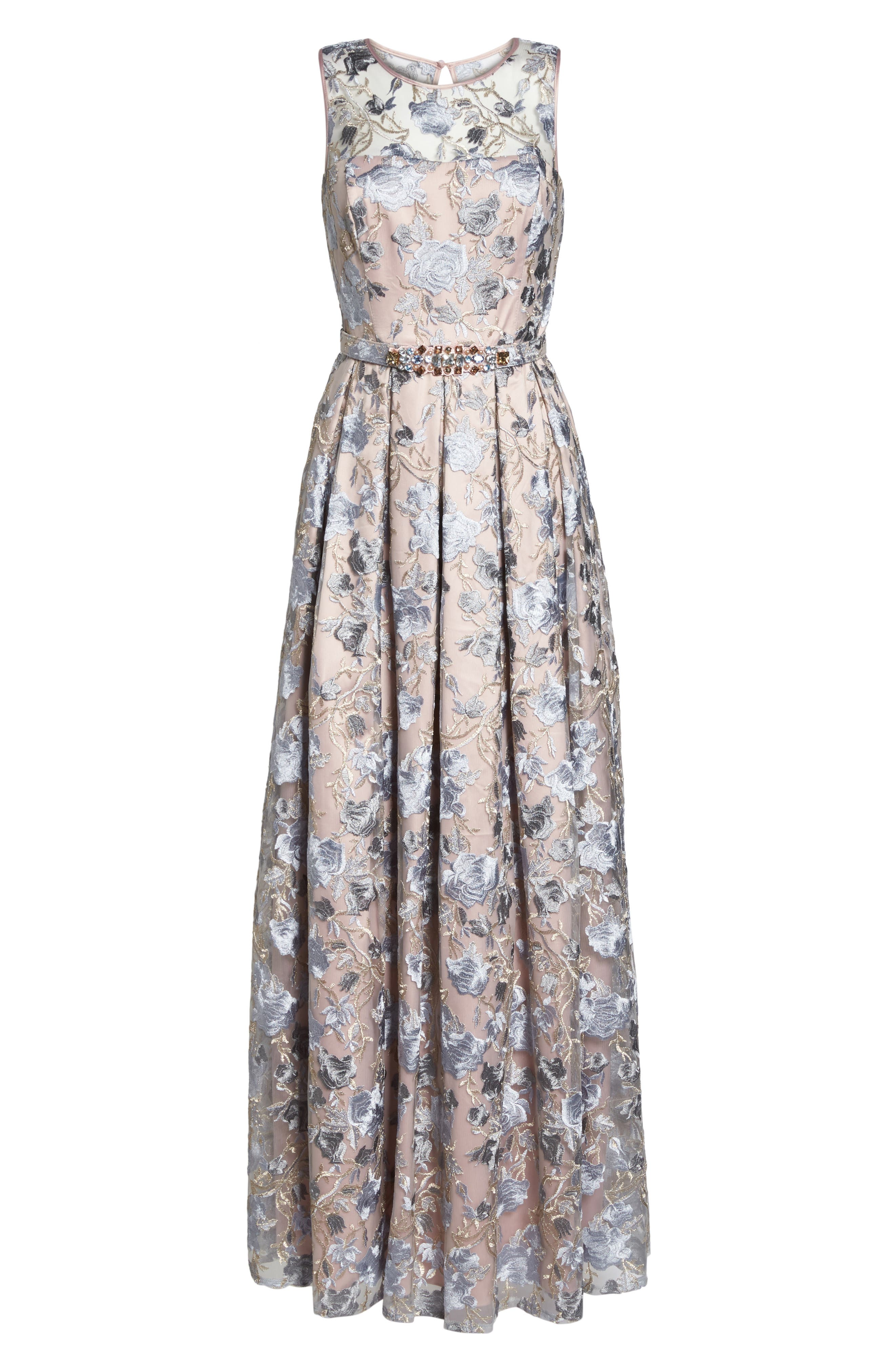 Embroidered Ballgown,                             Alternate thumbnail 6, color,                             Blush