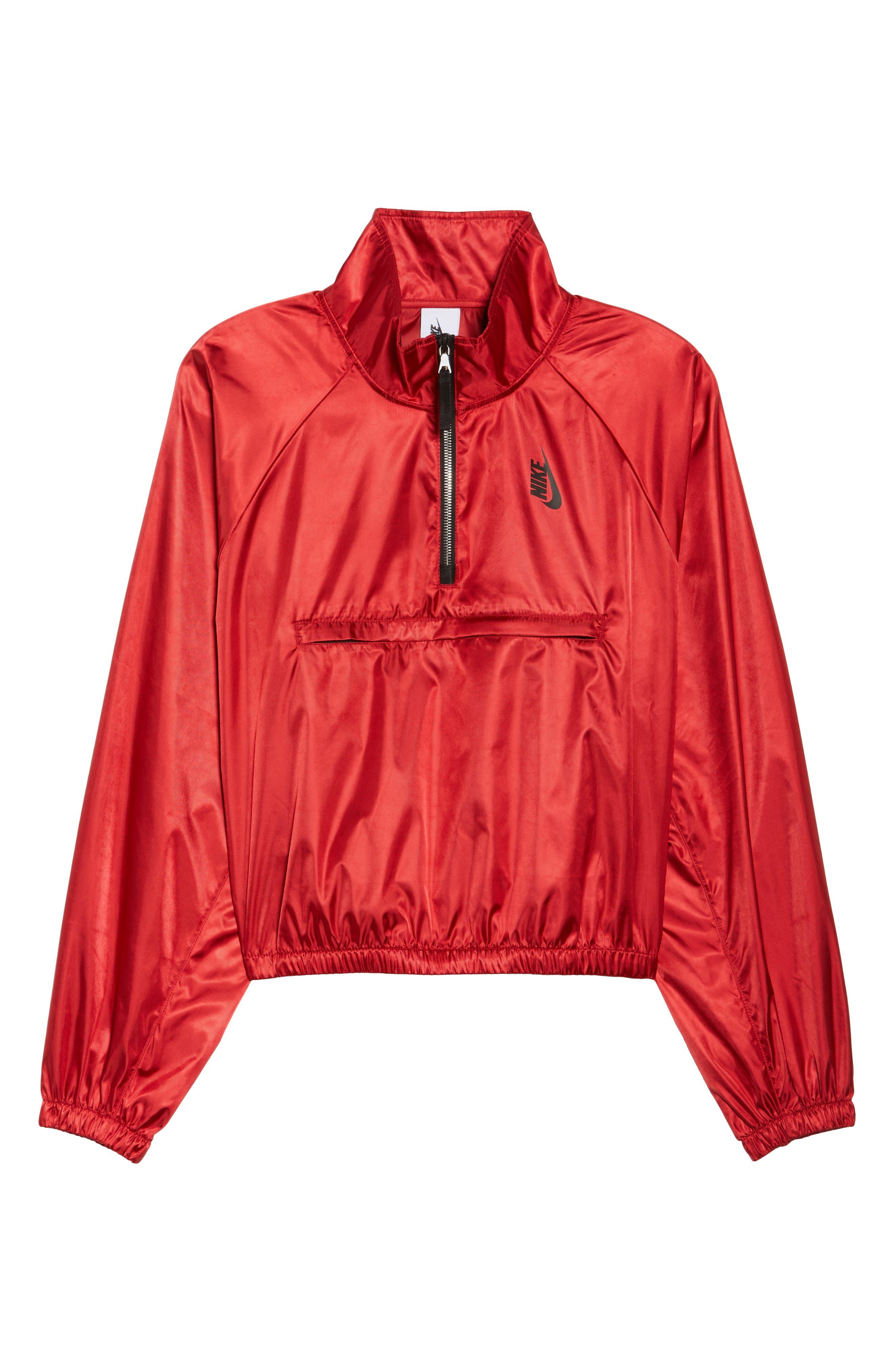 NikeLab Collection Satin Half Zip Top,                             Alternate thumbnail 8, color,                             Gym Red/ Black