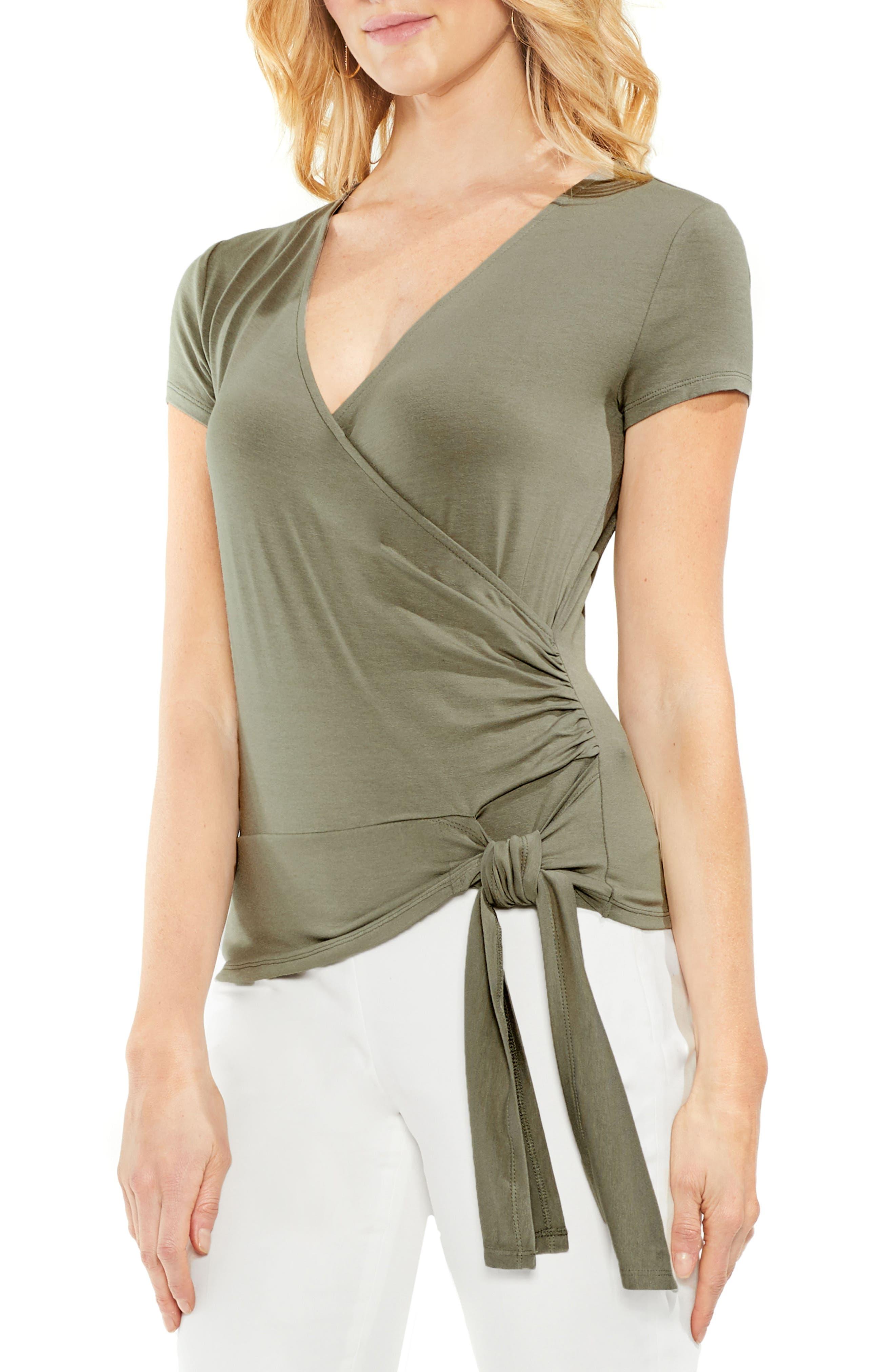 Side Tie Faux Wrap Top,                         Main,                         color, Camo Green