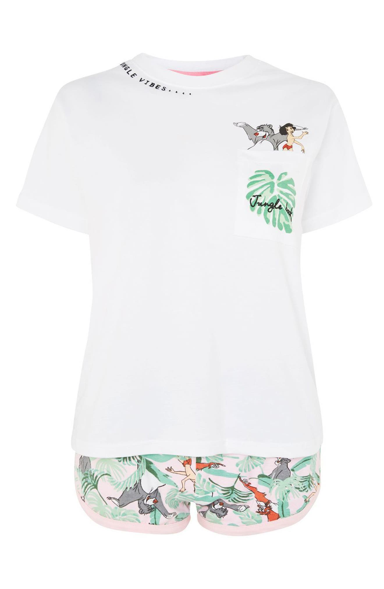 Disney<sup>®</sup> Jungle Book Short Pajamas,                             Alternate thumbnail 3, color,                             White Multi