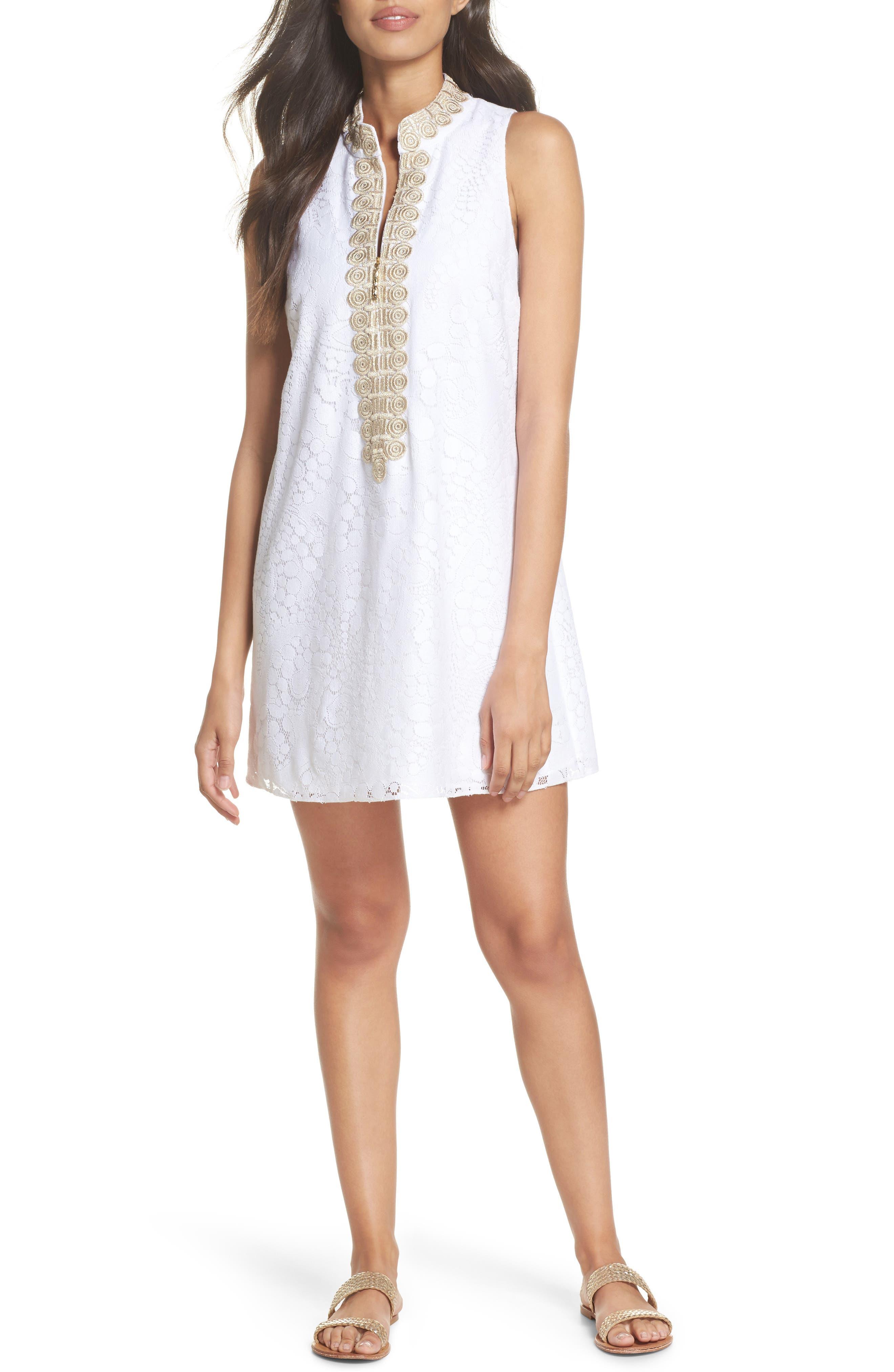 Jane Lace Shift Dress,                             Main thumbnail 1, color,                             Resort White Mocean Lace