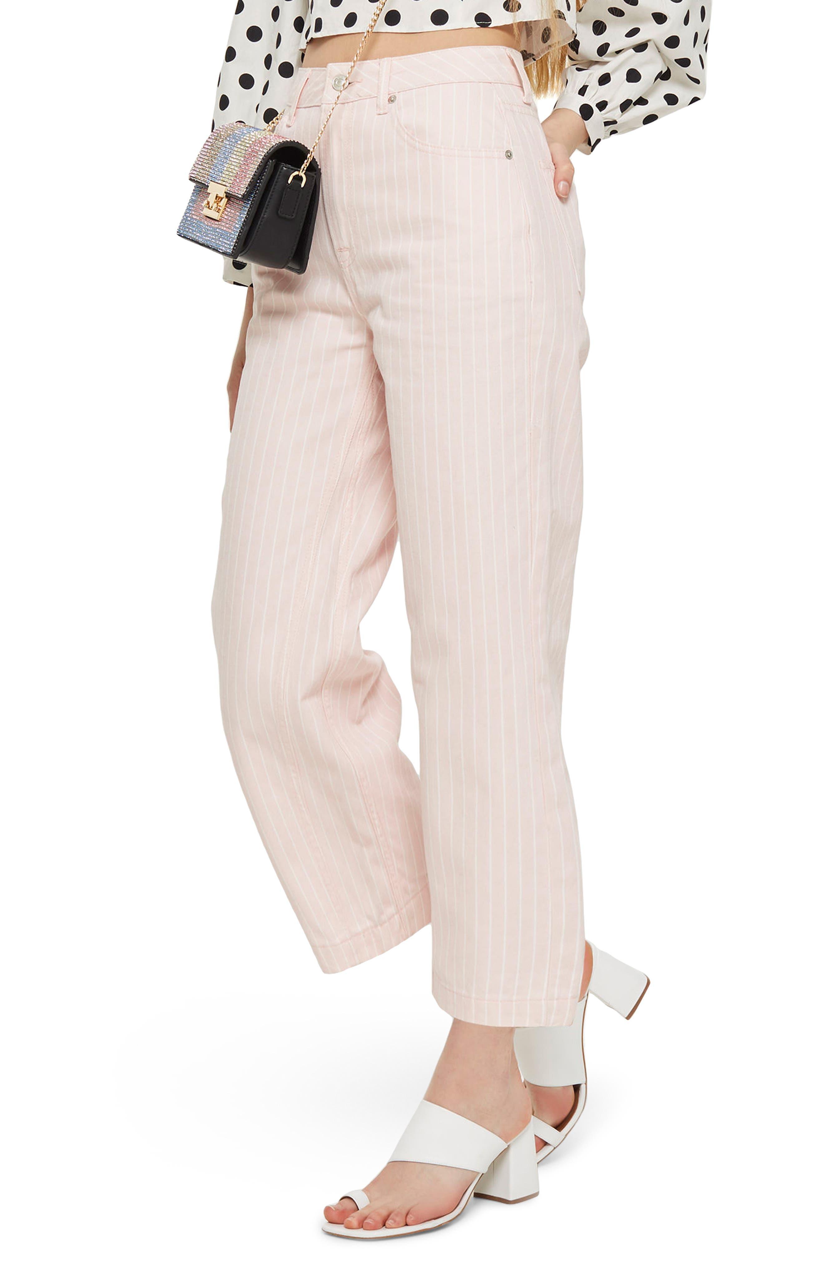 Topshop Pink Stripe Wide Leg Crop Jeans