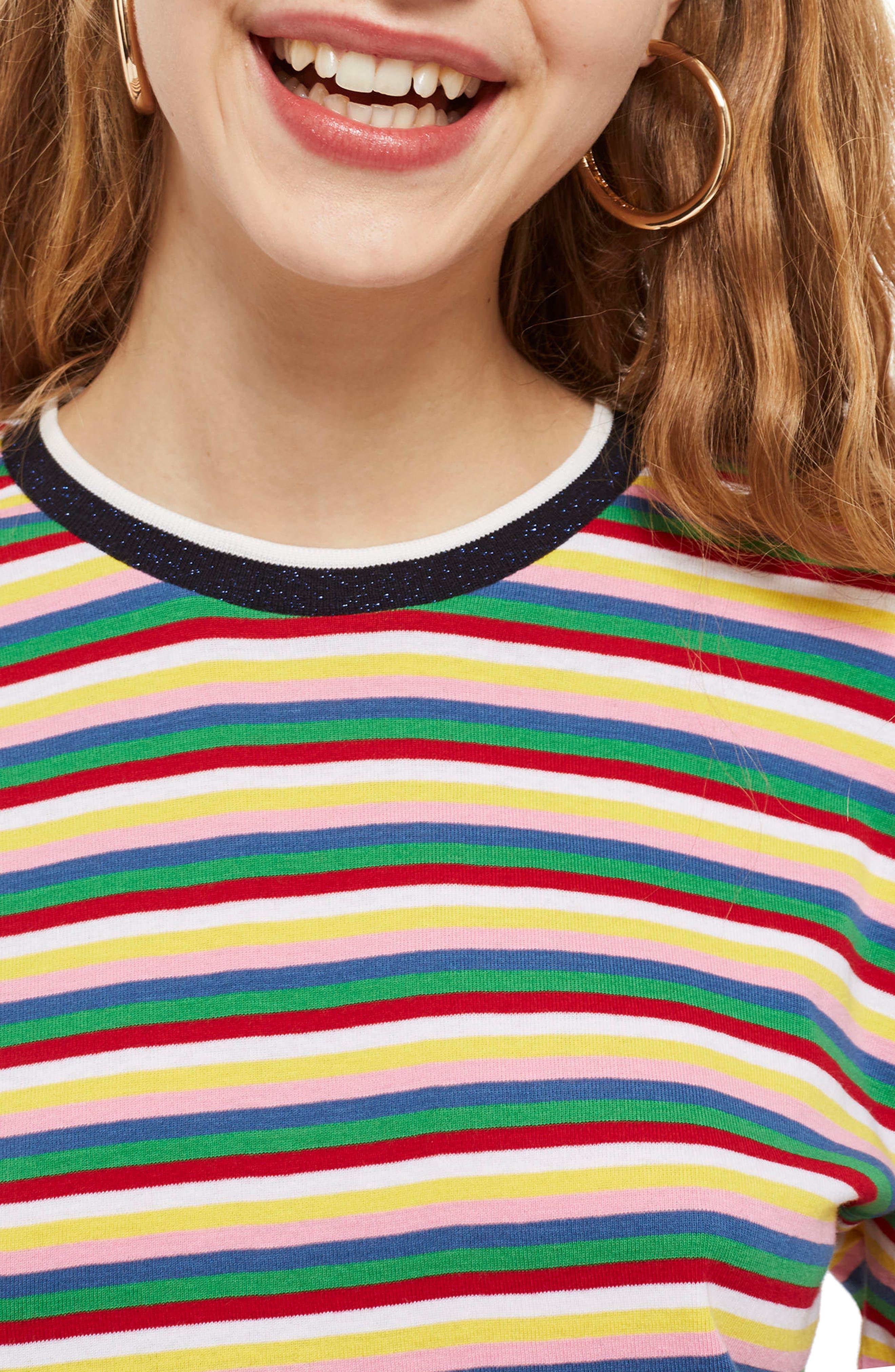 Rainbow Stripe Cotton Pullover,                             Alternate thumbnail 4, color,                             Blue Multi