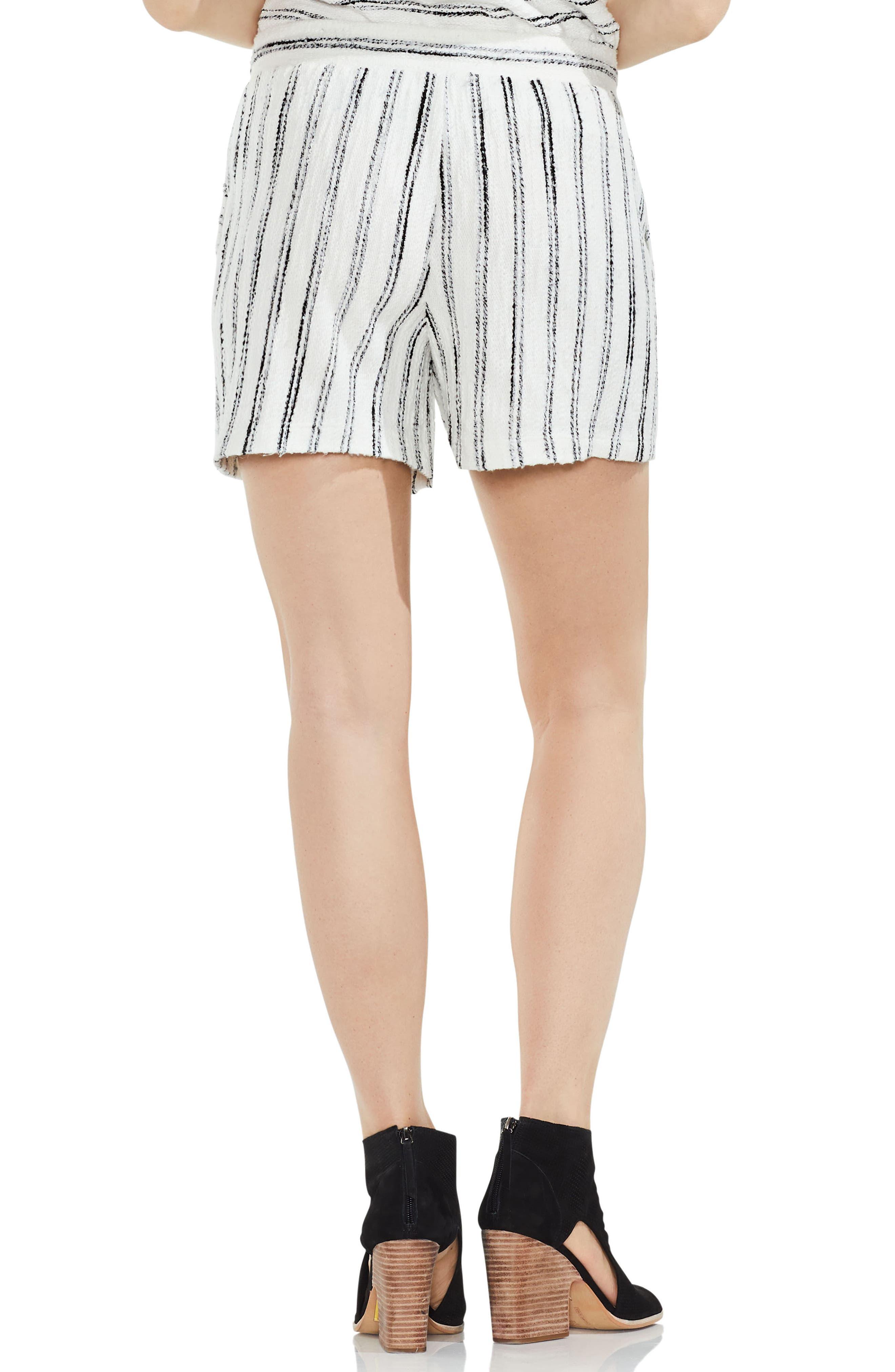 Drawstring Stripe Cotton Blend Shorts,                             Alternate thumbnail 3, color,                             Rich Black