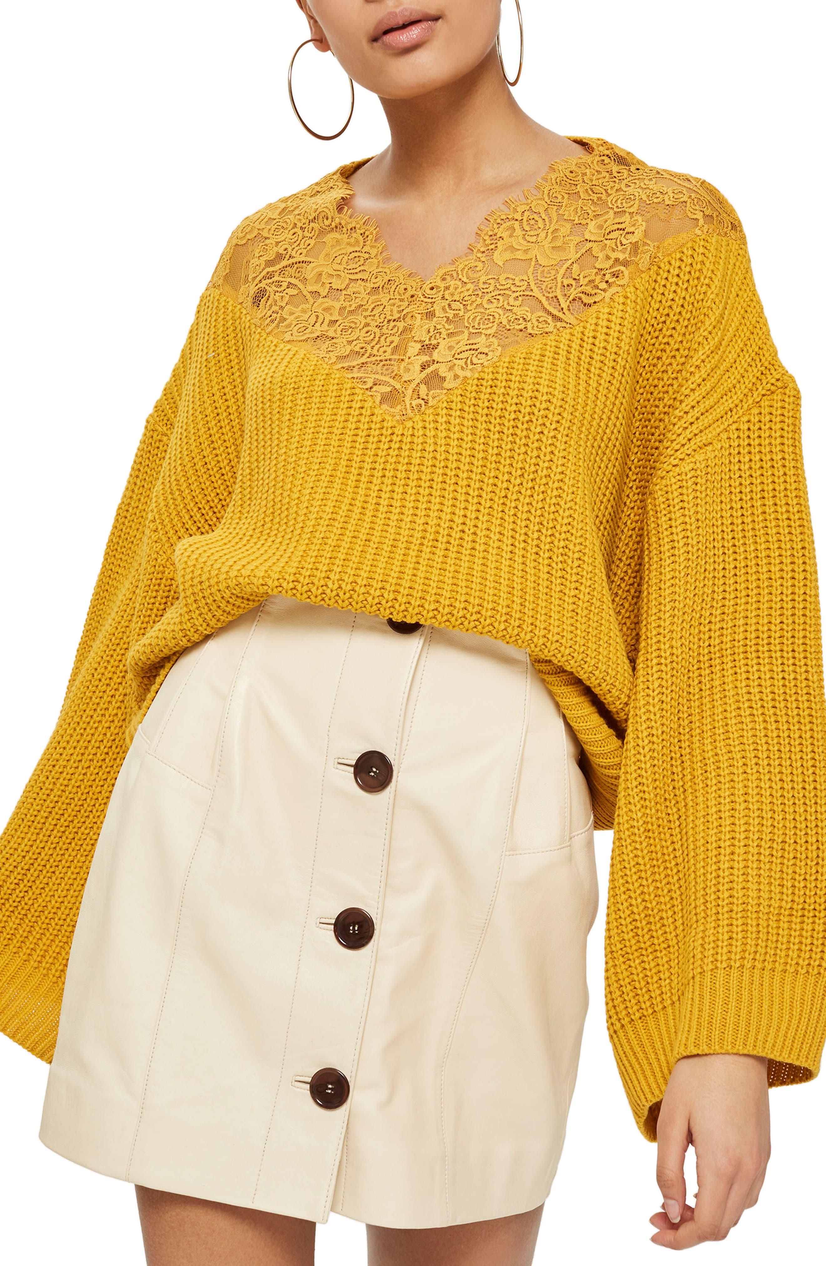 Topshop Lace Yoke Crop Sweater