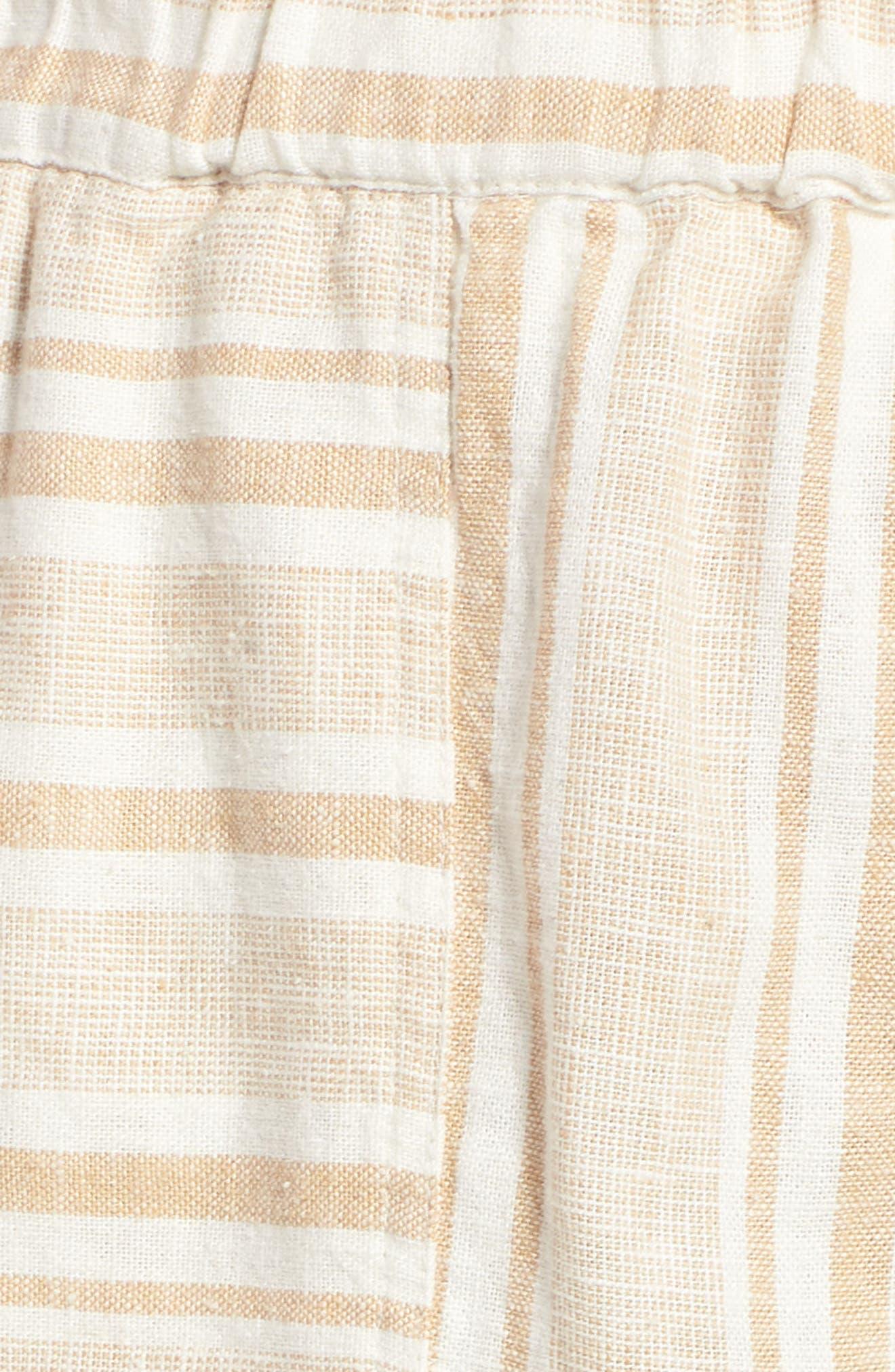 Stripe Linen Blend Shorts,                             Alternate thumbnail 5, color,                             Tan Lark Viola Stripe