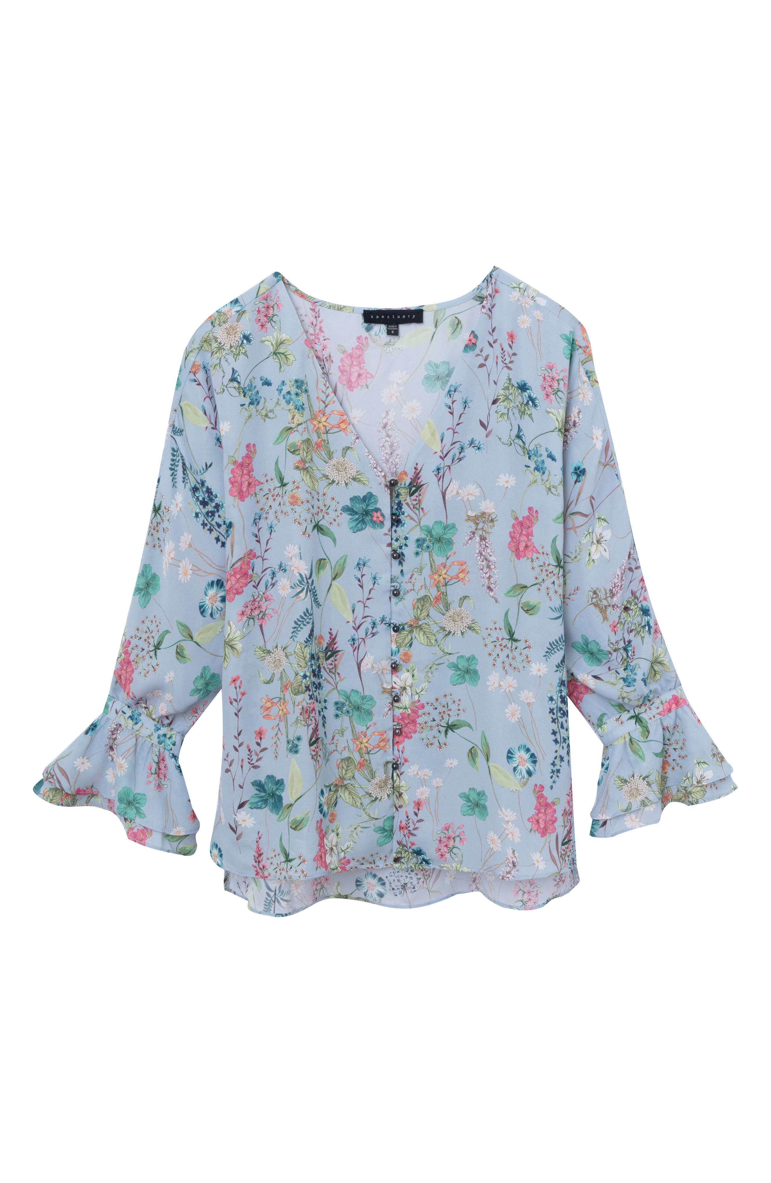 Posey Floral Blouse,                             Alternate thumbnail 3, color,                             Bluebell