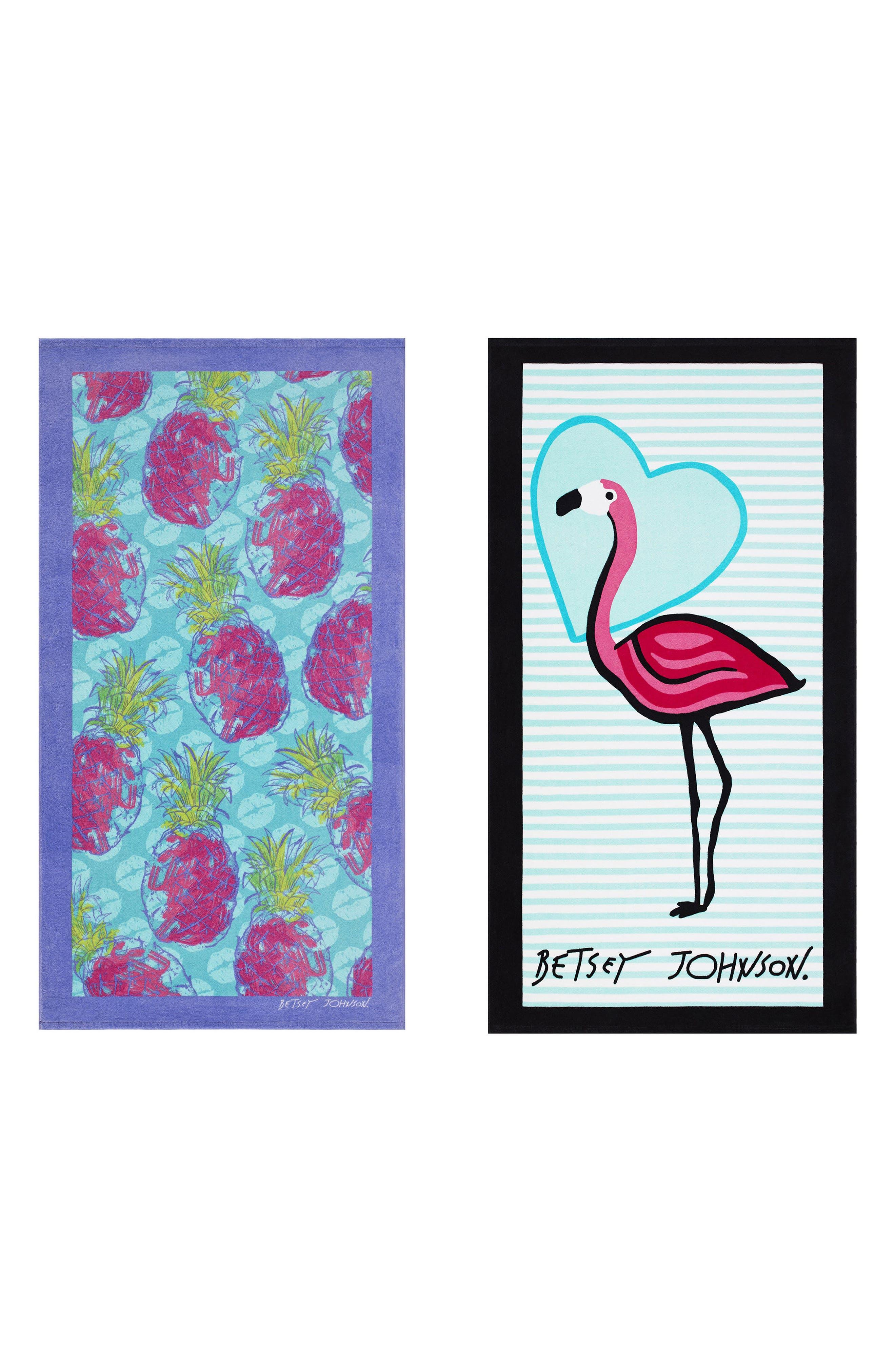 Pineapple/Flamingo Set of 2 Beach Towels,                             Main thumbnail 1, color,                             Blue Multi