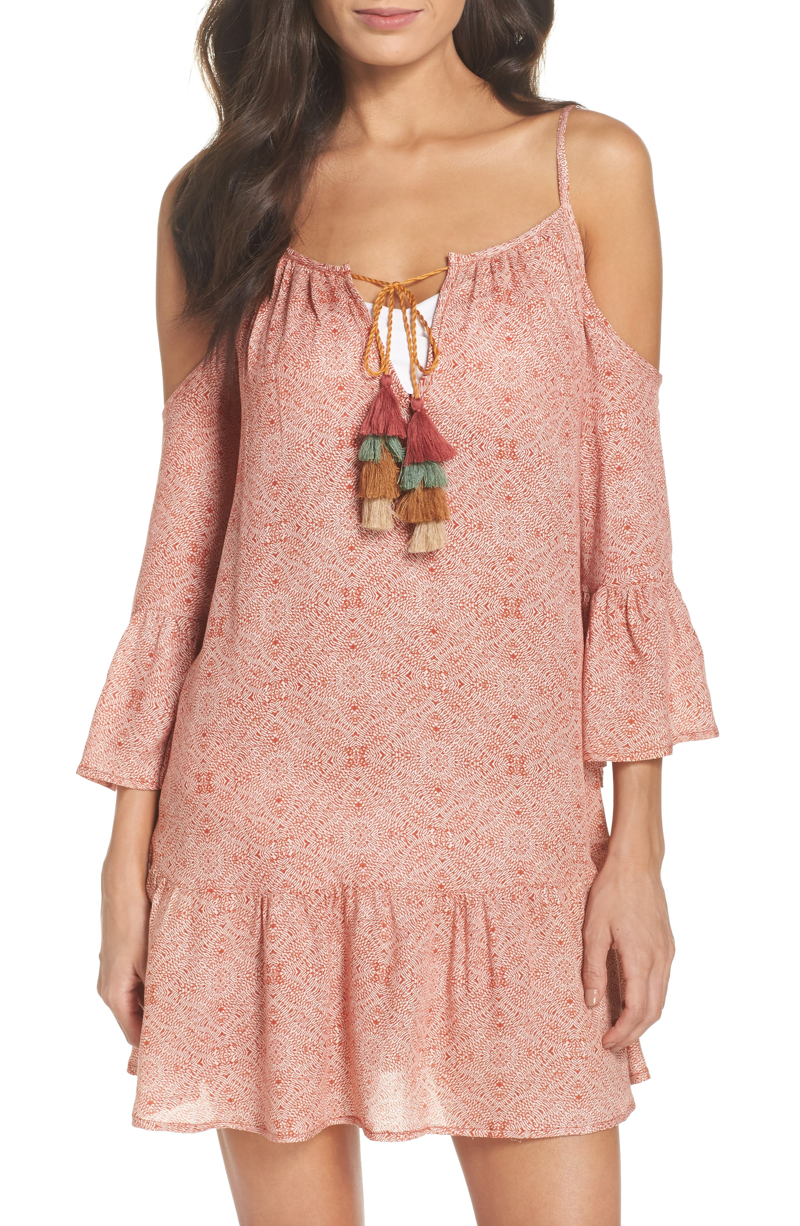 Tassel Cold Shoulder Cover-Up Tunic,                         Main,                         color, Rust