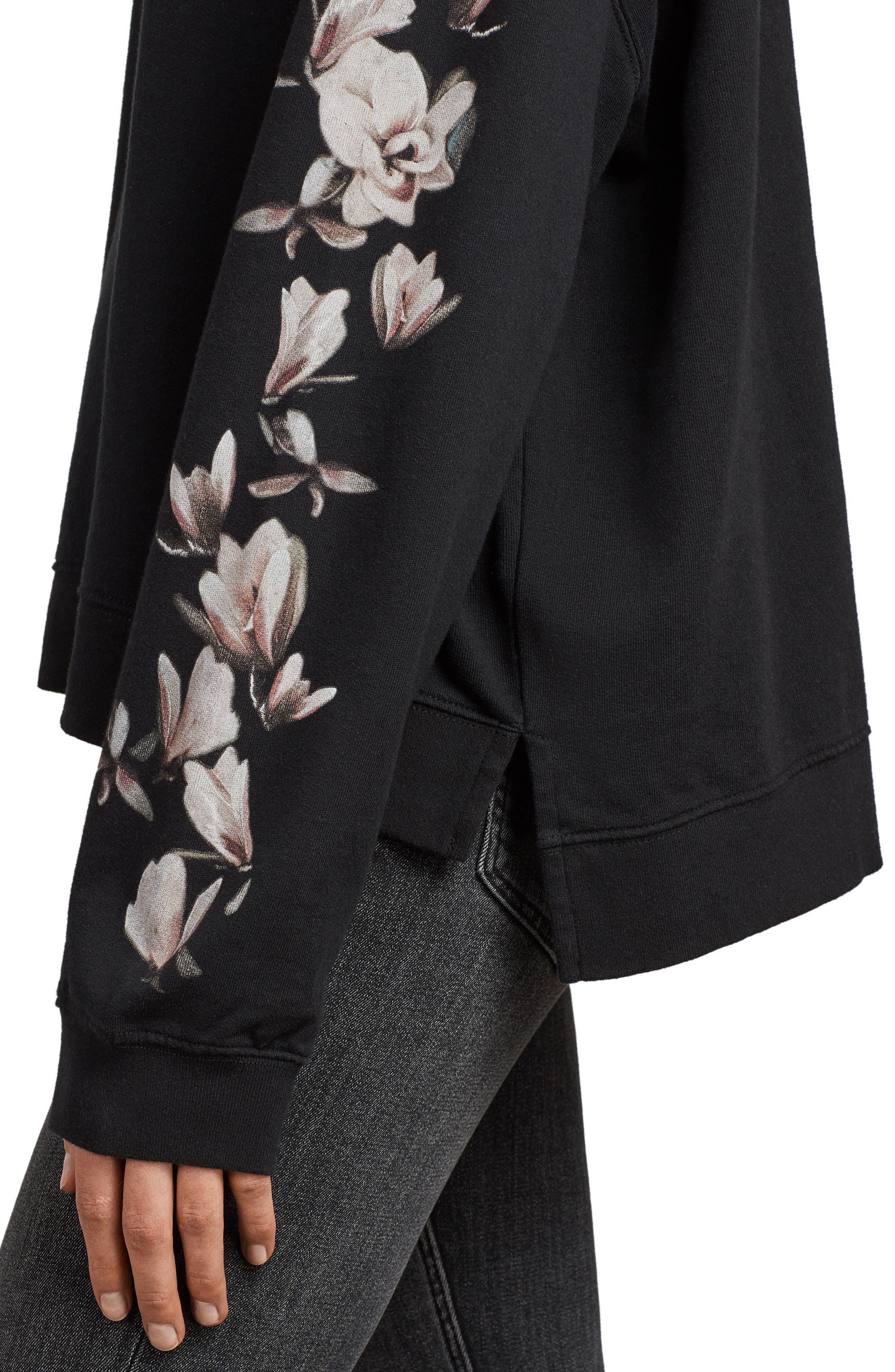 Magnolia Floral Print Cotton Sweatshirt,                             Alternate thumbnail 4, color,                             Black
