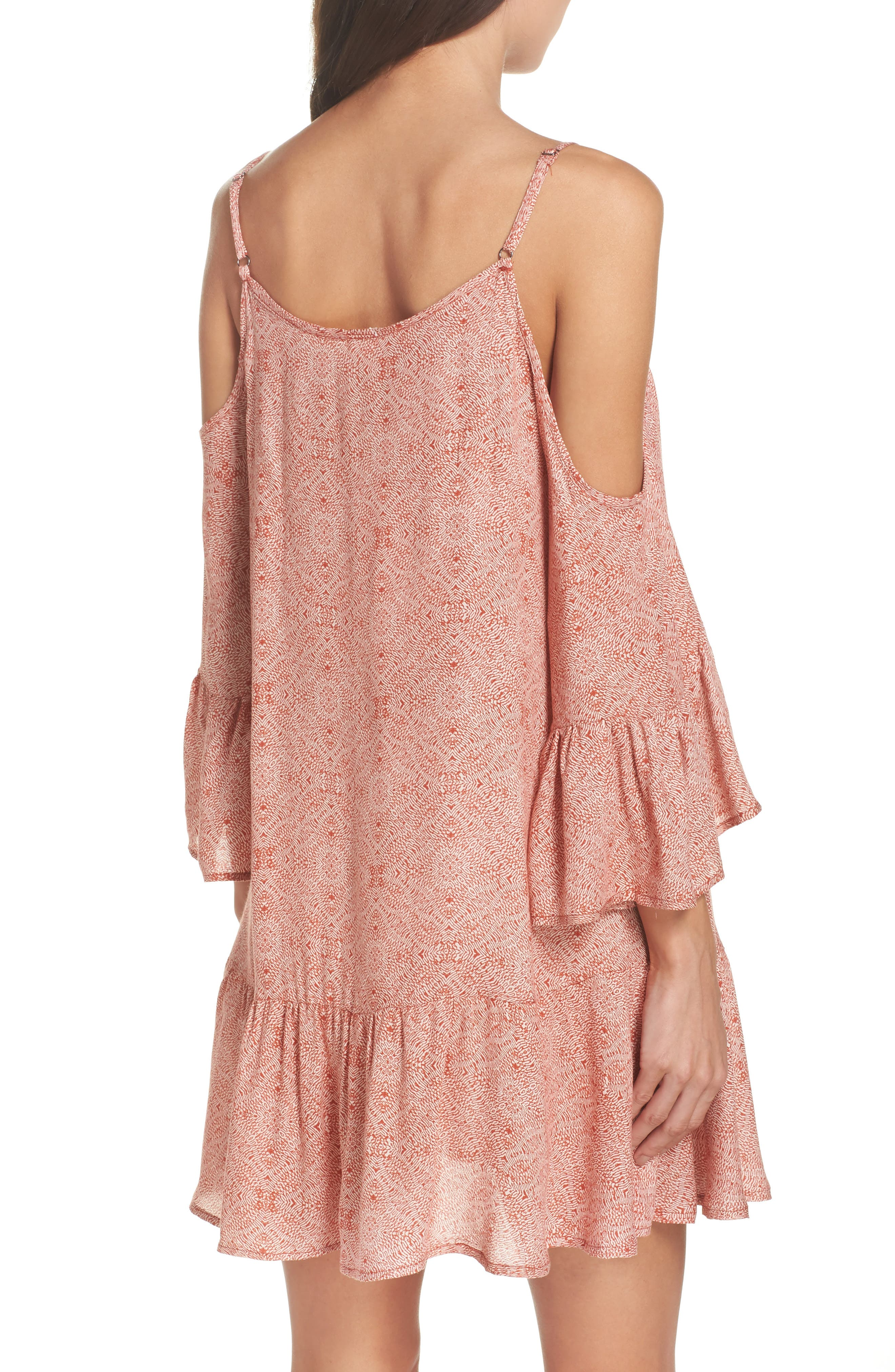 Tassel Cold Shoulder Cover-Up Tunic,                             Alternate thumbnail 2, color,                             Rust
