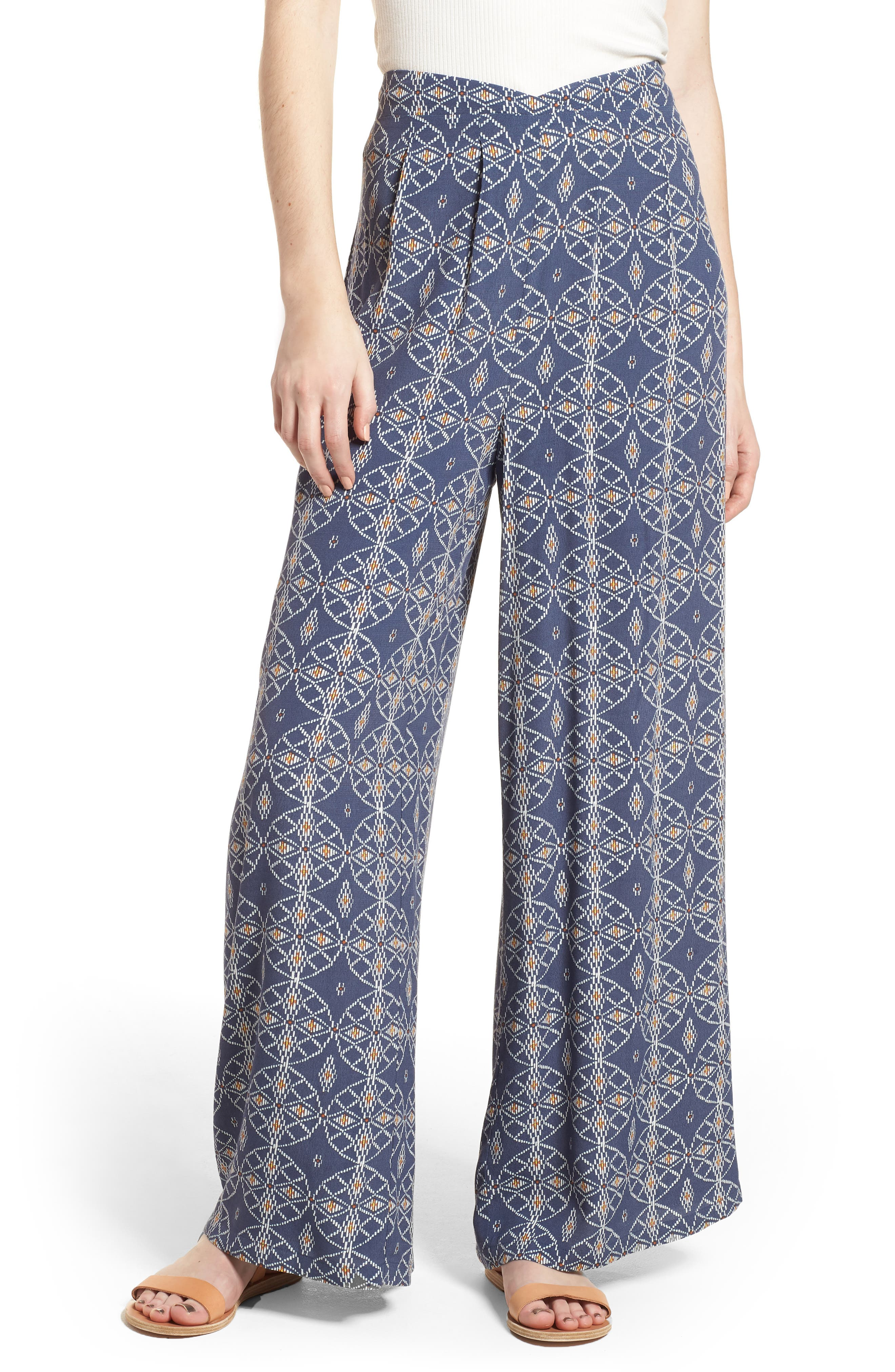 Print Wide Leg Pants,                         Main,                         color, Blue Vintage Desert Geo