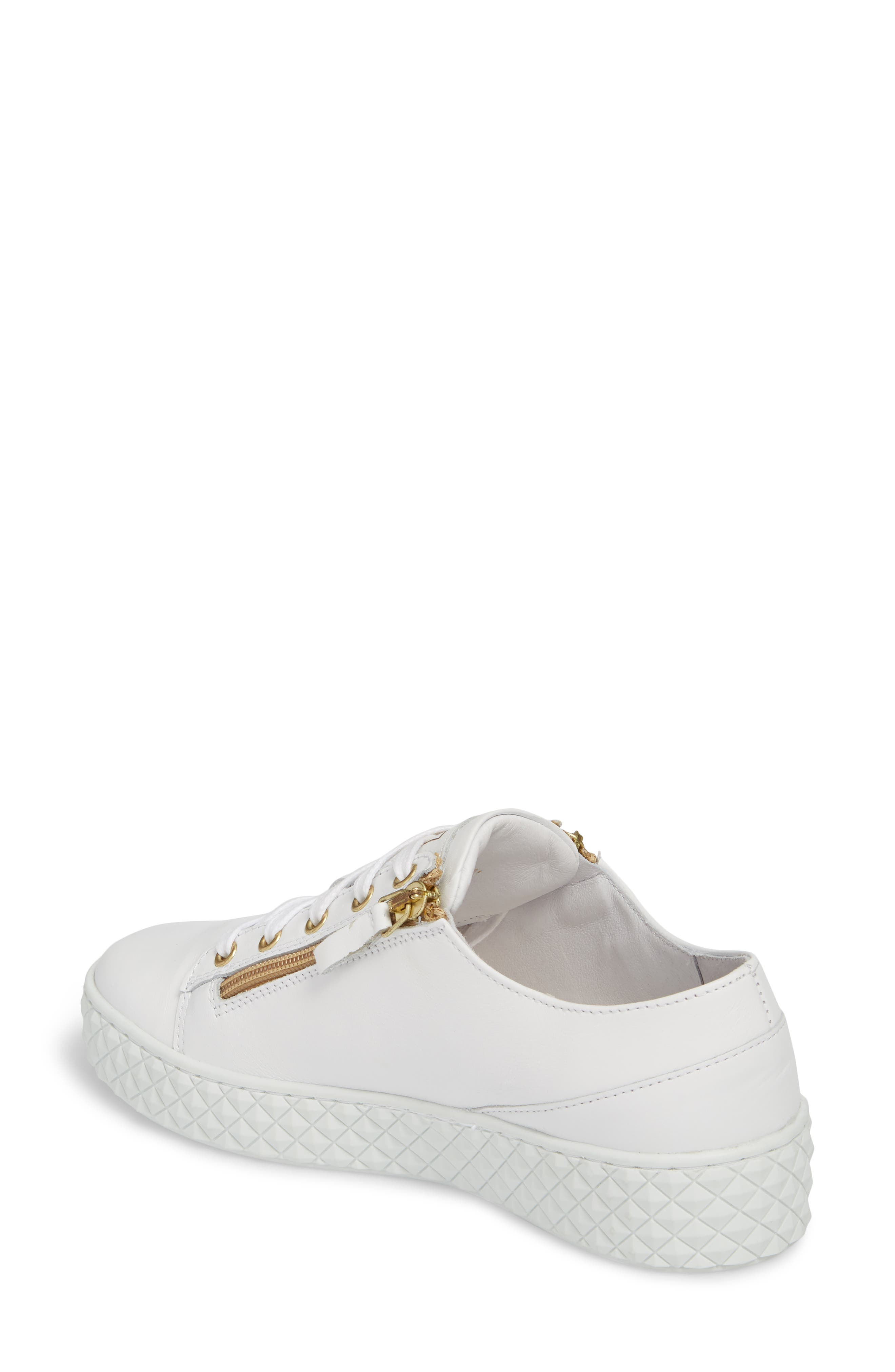Mira Side Zip Low Top Sneaker,                             Alternate thumbnail 2, color,                             Optic White/ Gold Leather