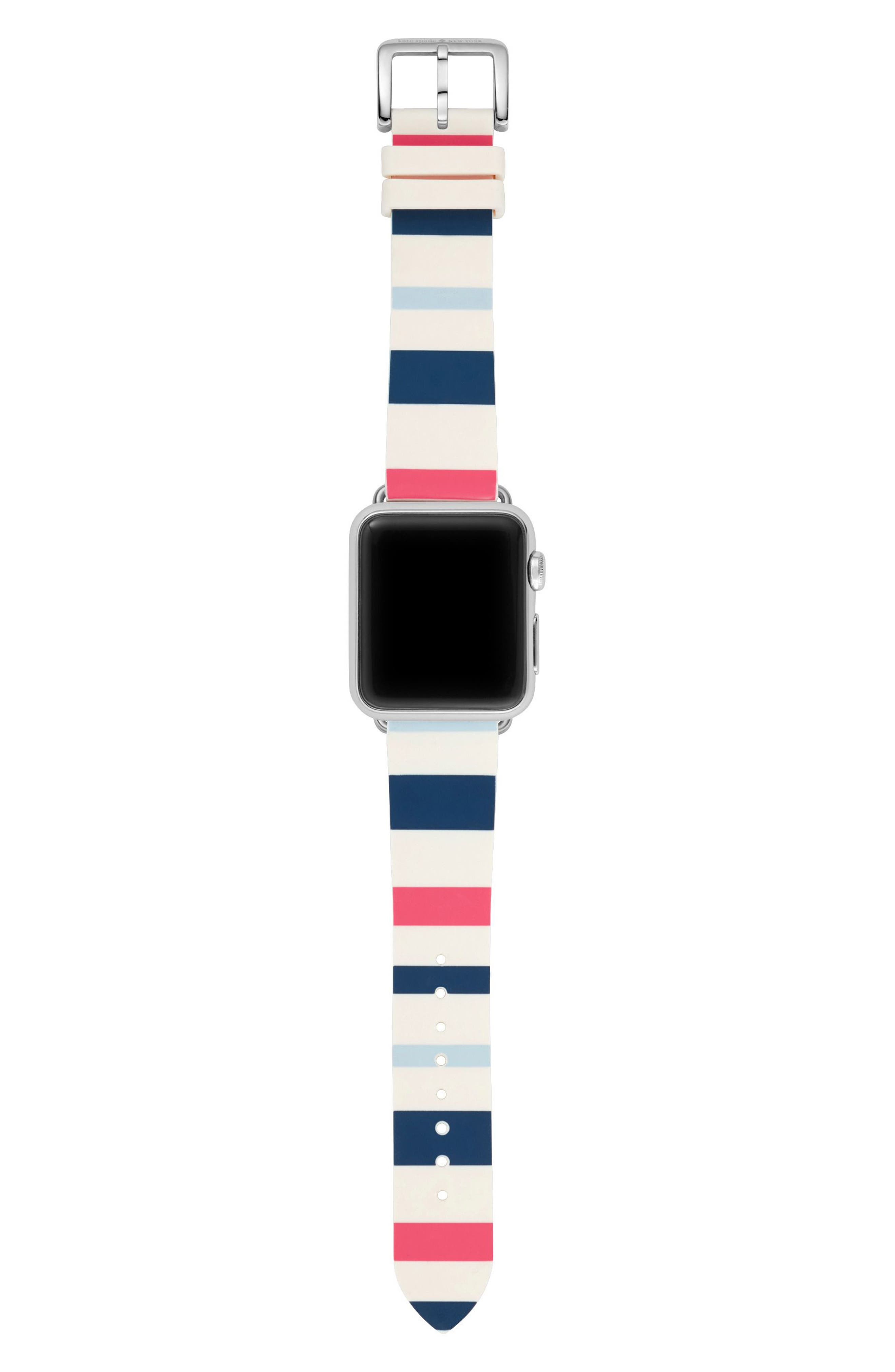 Apple Watch strap, 25mm,                             Alternate thumbnail 3, color,                             Blue/ White/ Pink