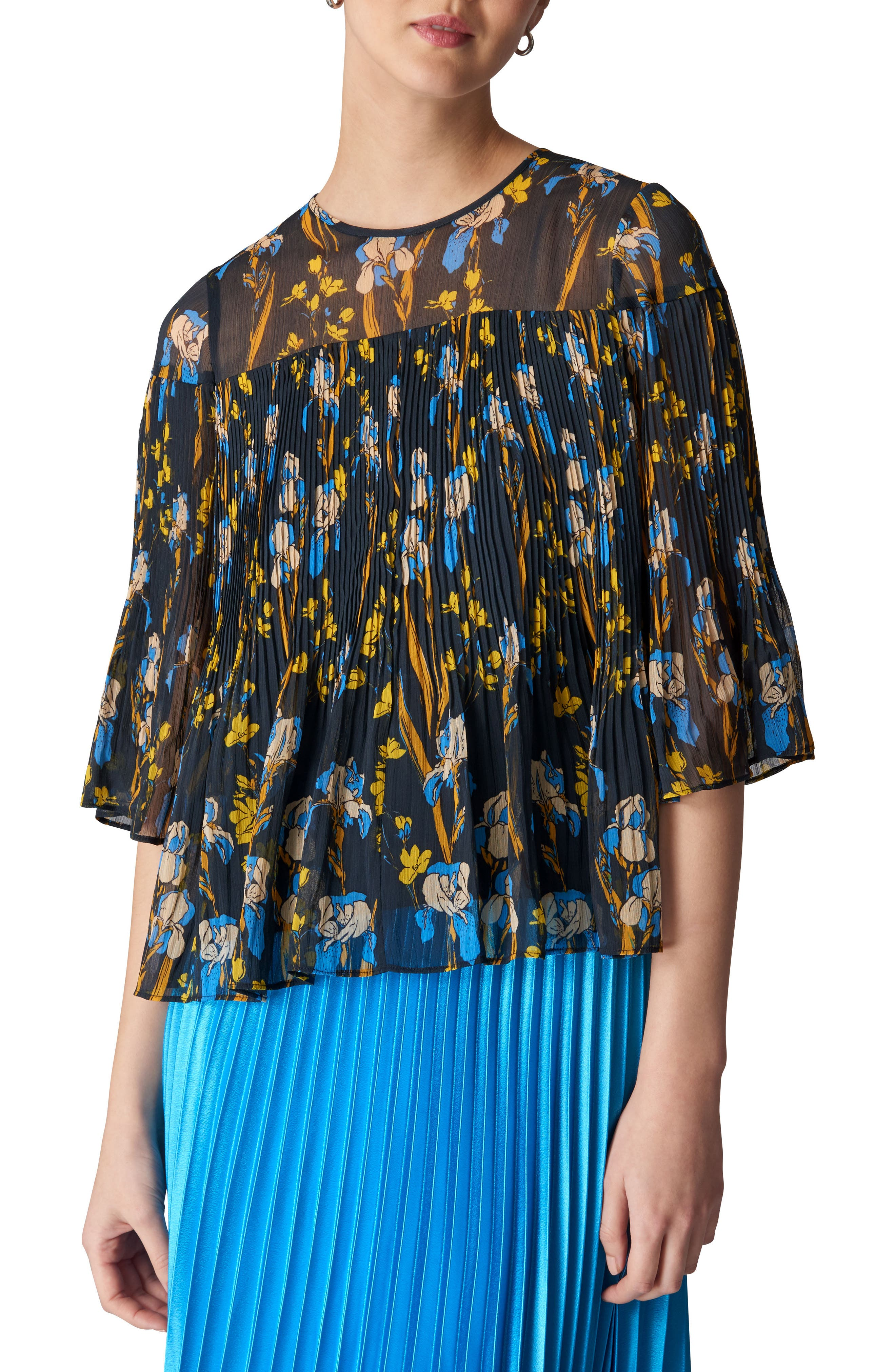 Habiba Iris Pleat Top,                         Main,                         color, Navy/ Multi