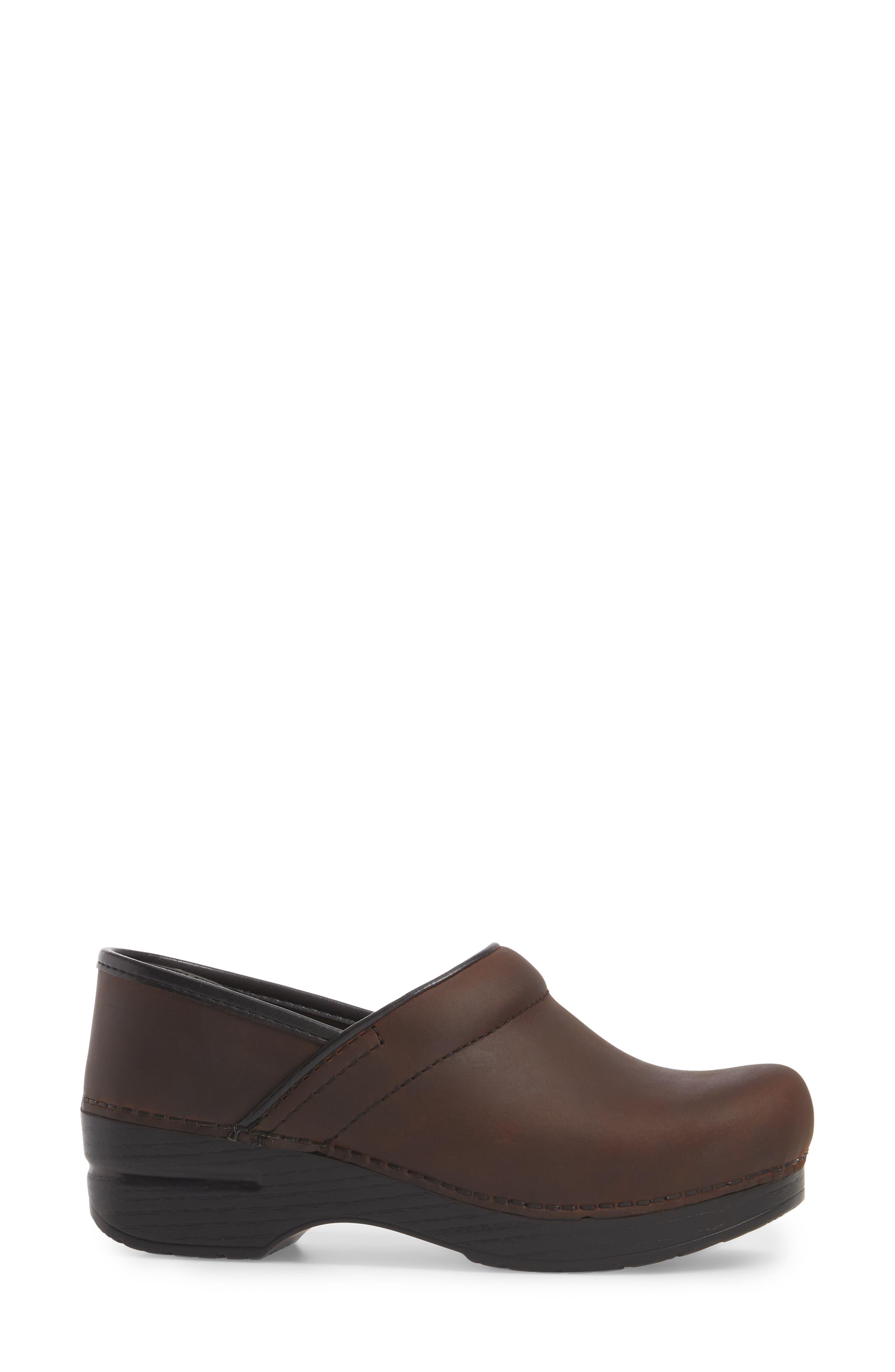 Wide Pro Clog,                             Alternate thumbnail 3, color,                             Antique Brown/ Black Leather