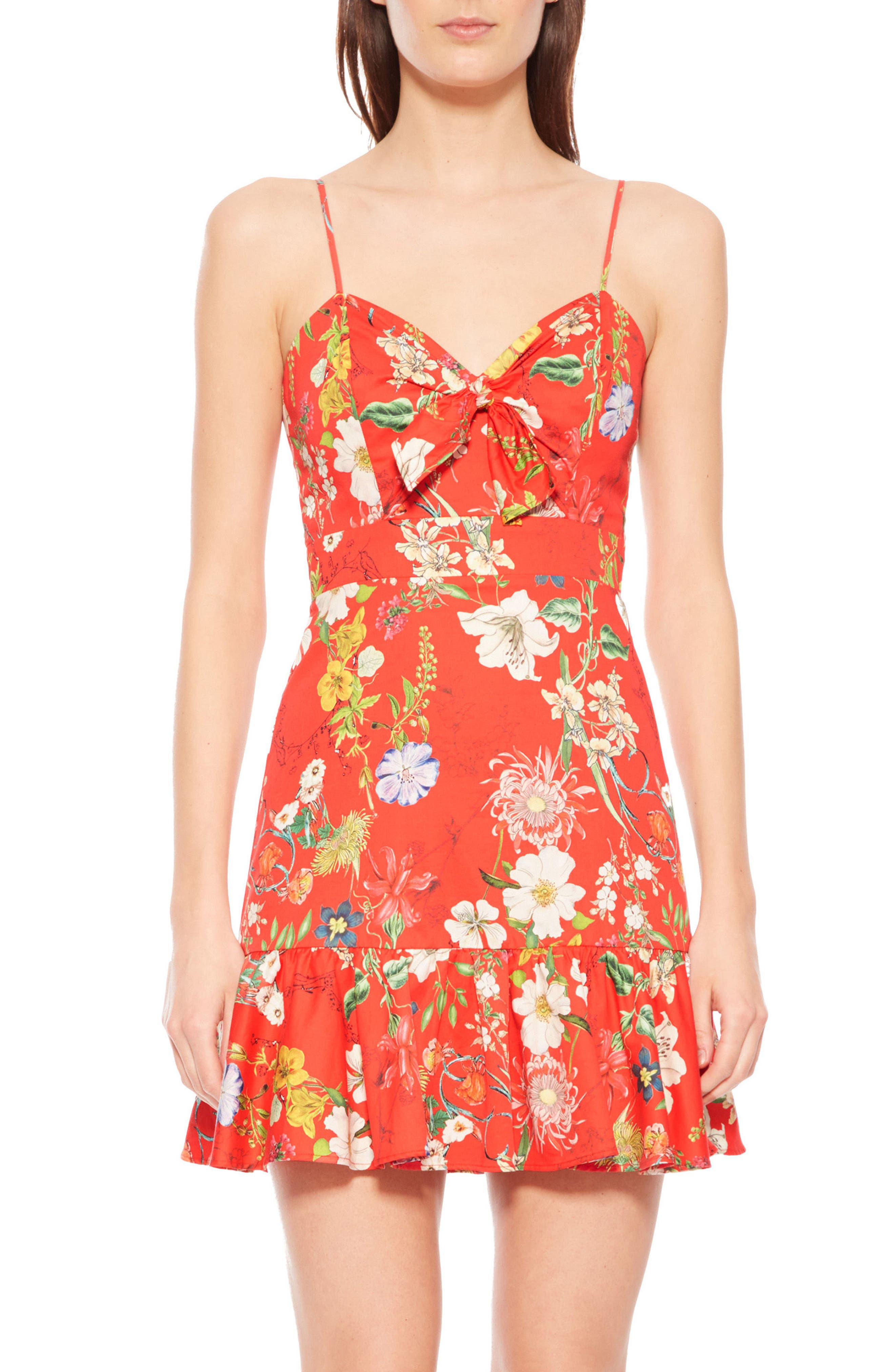 Dany Floral Dress,                             Main thumbnail 1, color,                             Red Sangria