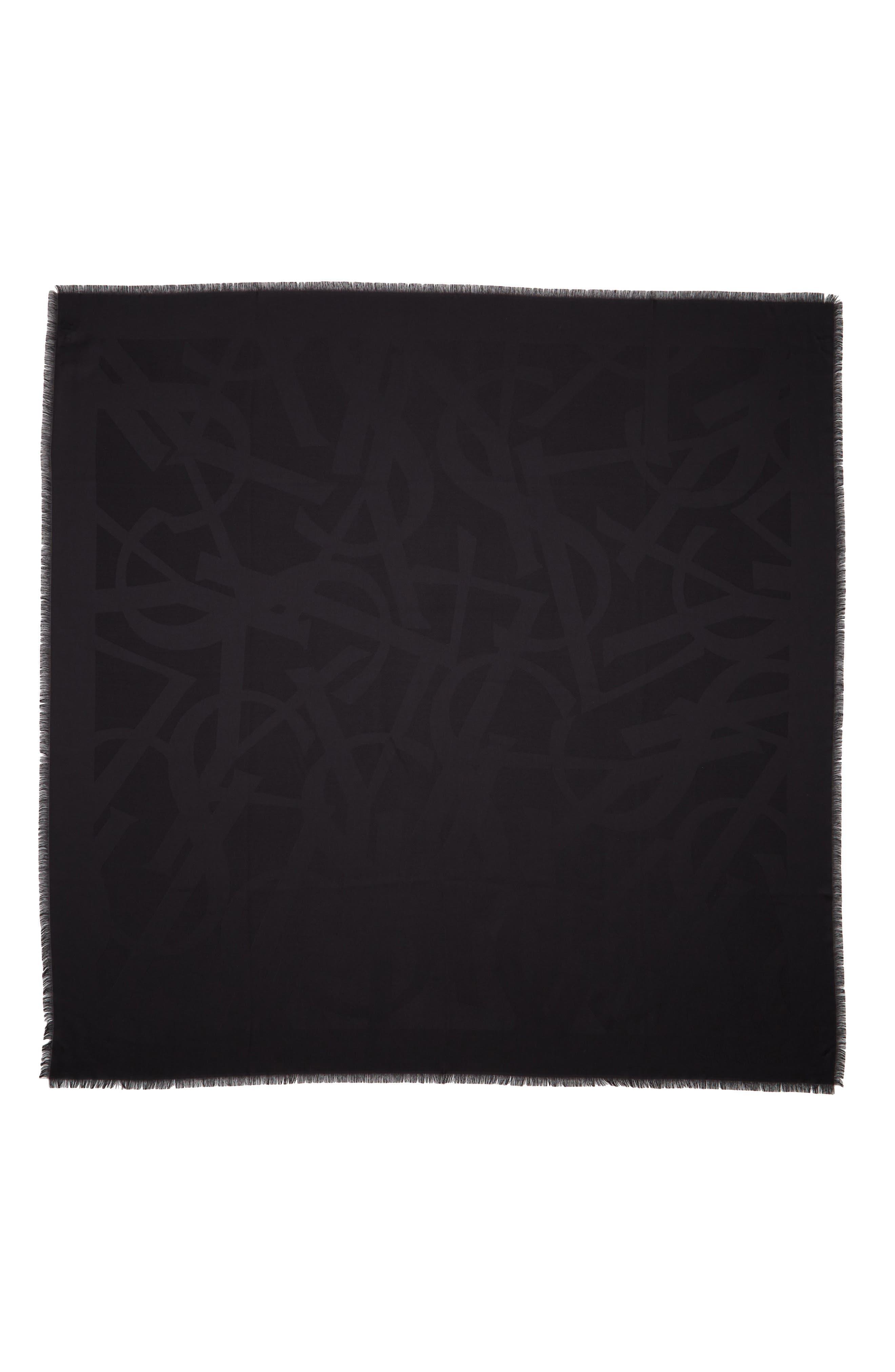 YSL Random Logo Silk Jacquard Scarf,                             Main thumbnail 1, color,                             Black