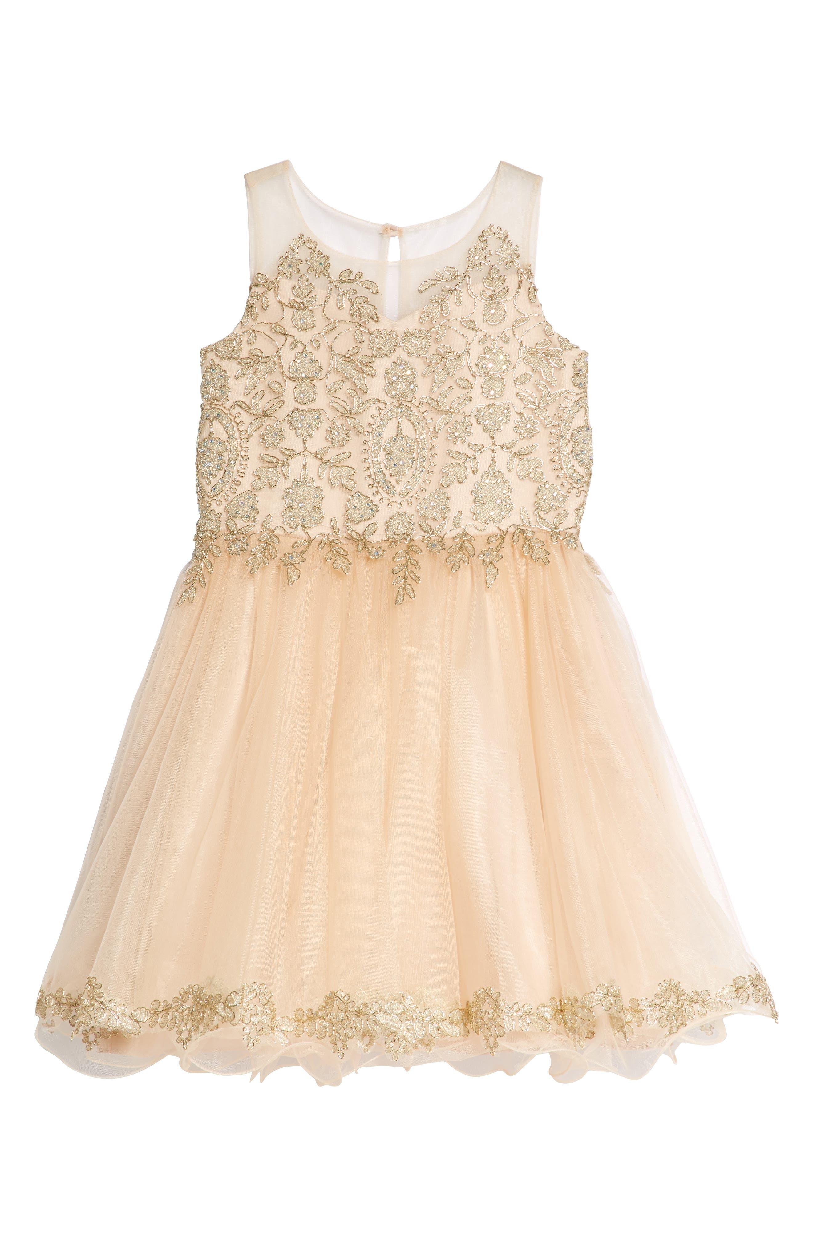 Main Image - BLUSH by Us Angels Illusion Beaded Mesh Dress (Big Girls)