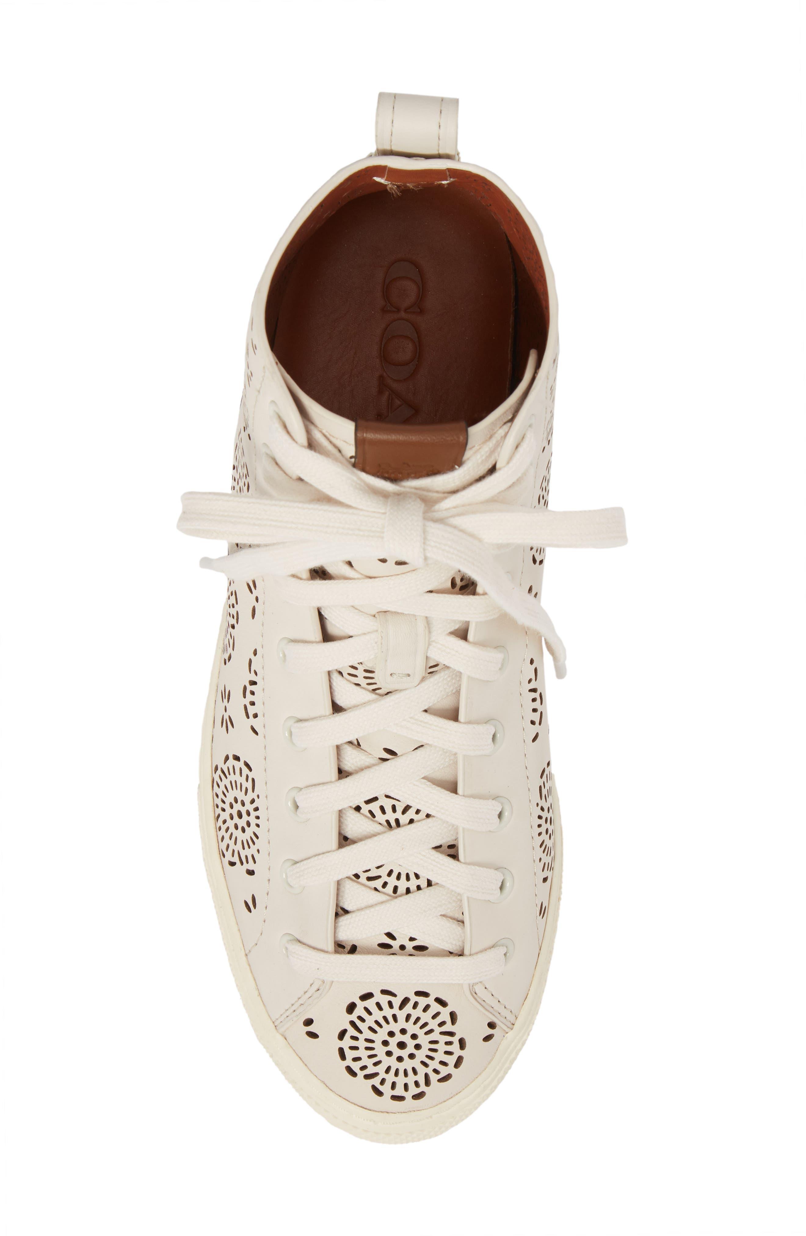 Tea Rose Cutout High Top Sneaker,                             Alternate thumbnail 5, color,                             Chalk Leather