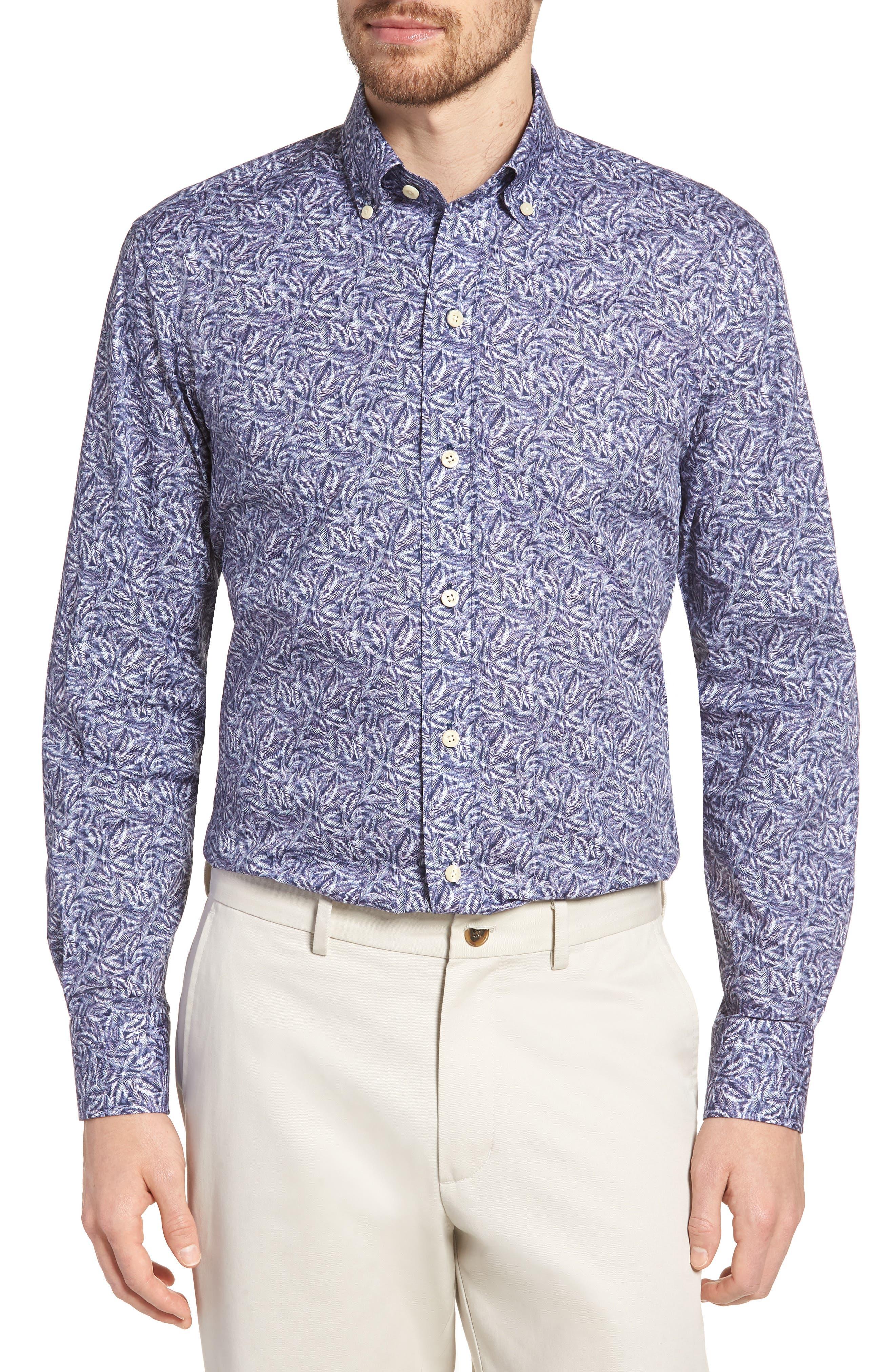 Garnaby Slim Fit Print Dress Shirt,                         Main,                         color, Blue