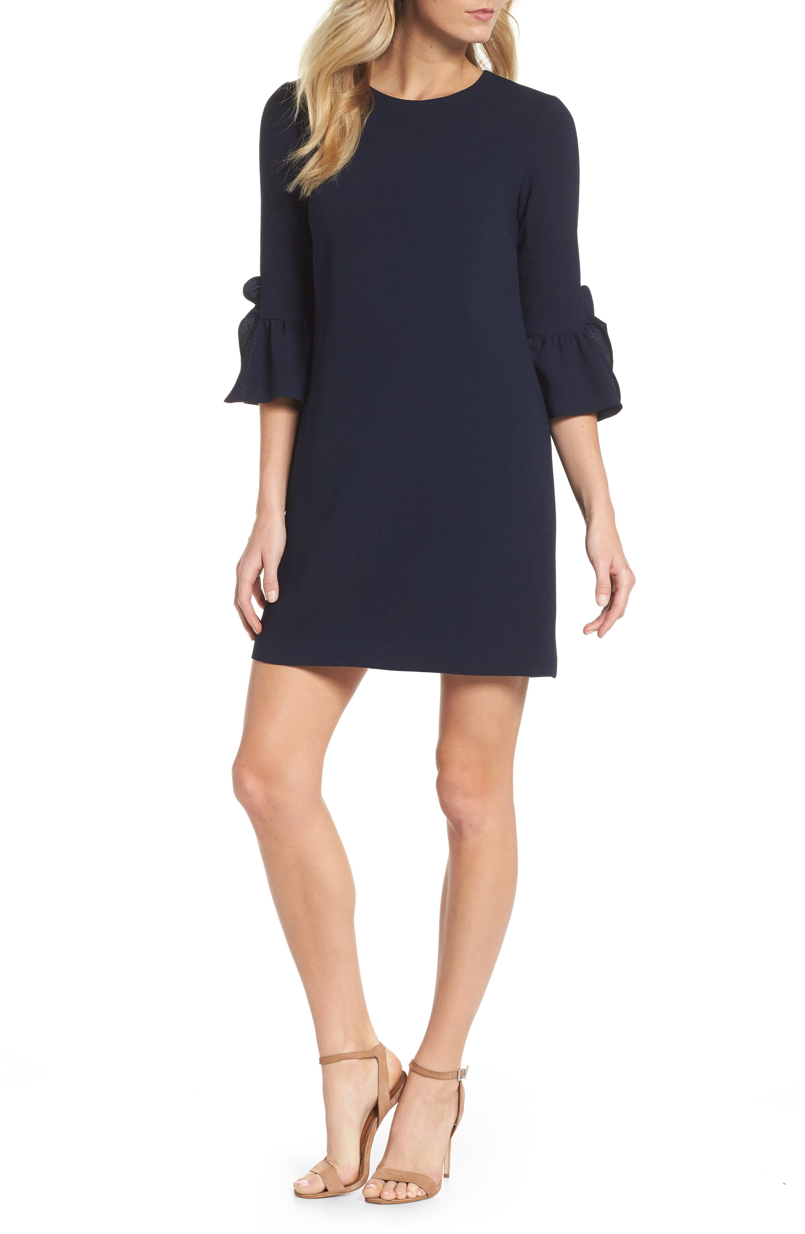 Crepe Shift Dress,                         Main,                         color, Dark Navy
