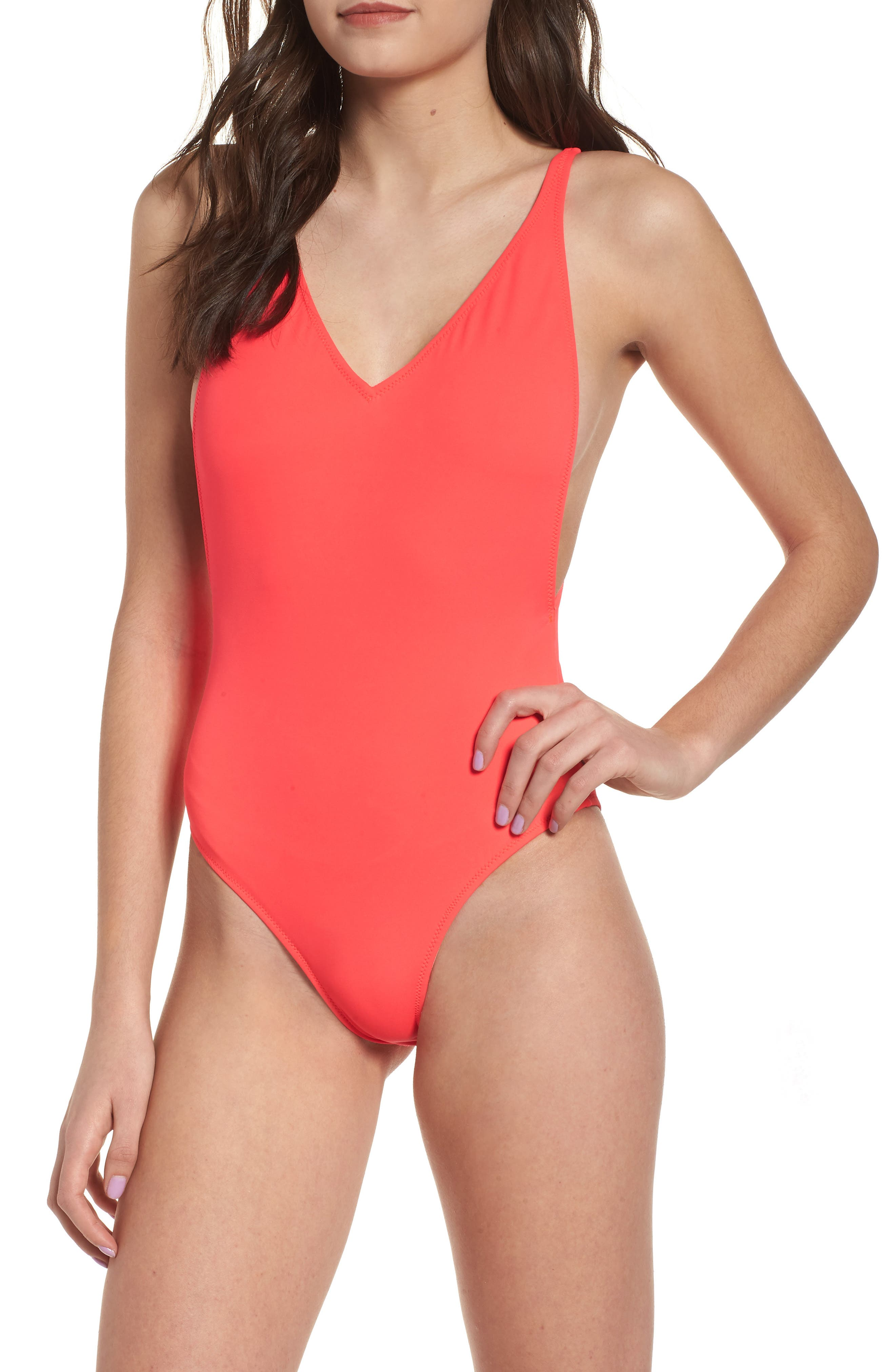 Pamela One-Piece Swimsuit,                         Main,                         color, Red