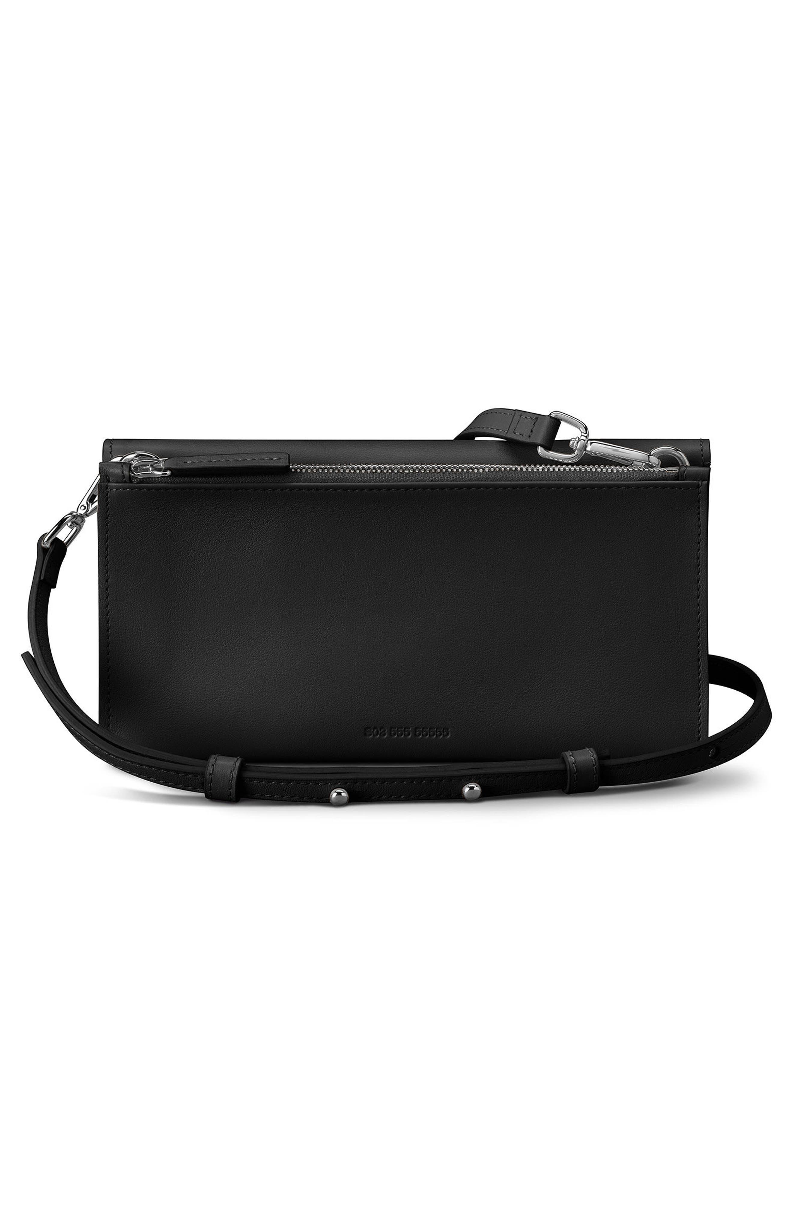 Birdy Leather Crossbody Bag,                             Alternate thumbnail 3, color,                             Black