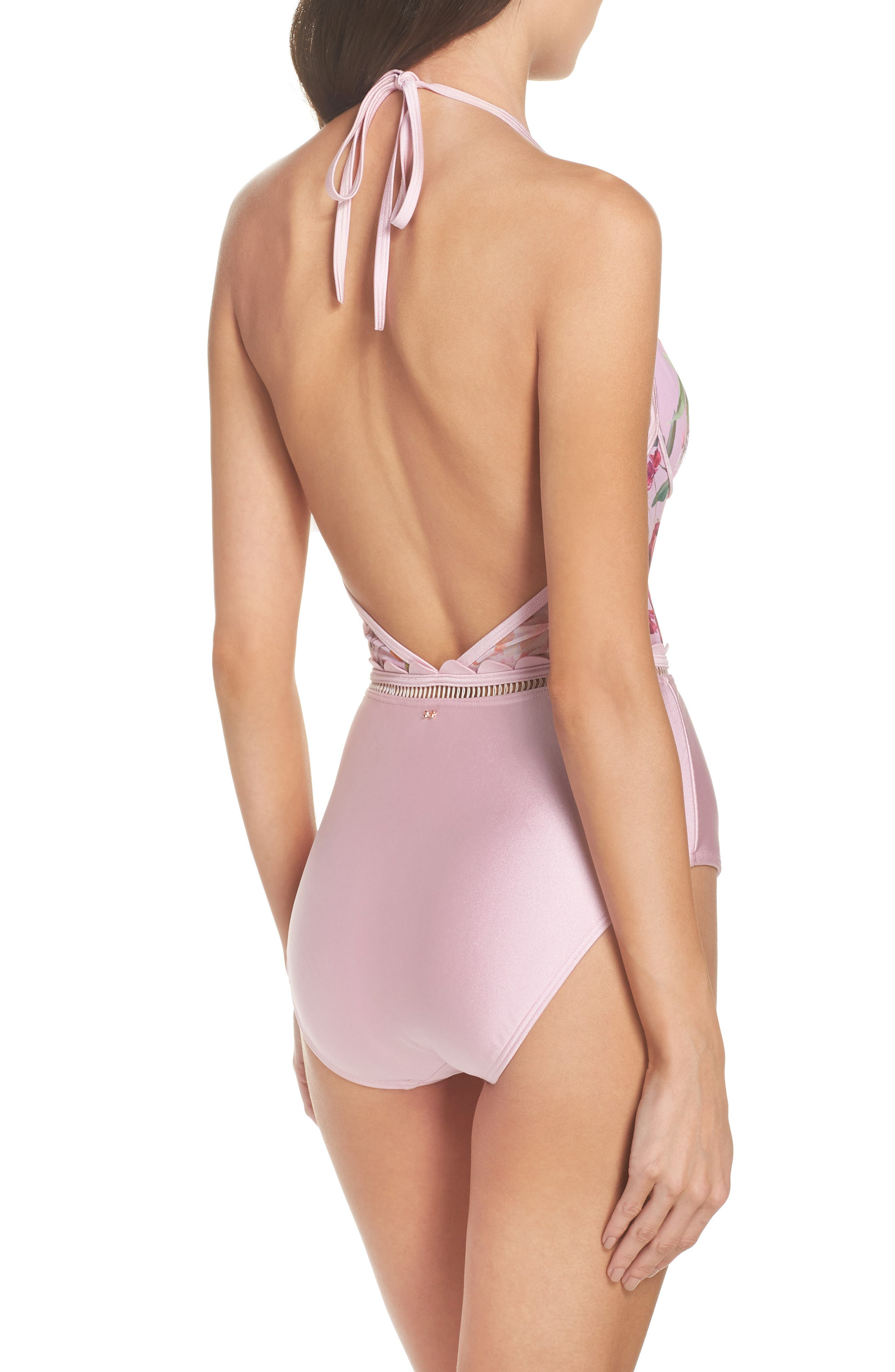 Serenity Mesh One-Piece Swimsuit,                             Alternate thumbnail 2, color,                             Pale Pink