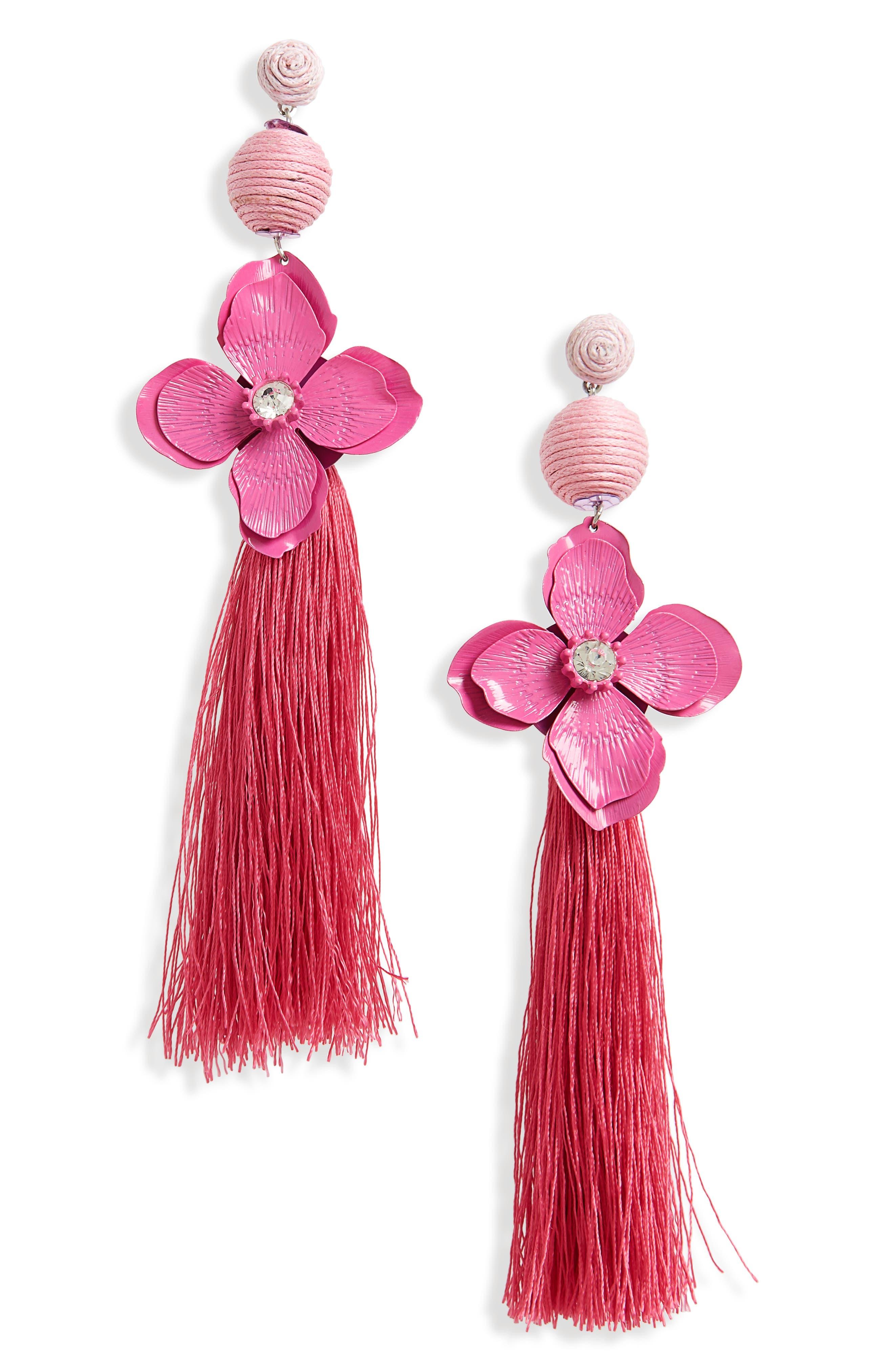 Flower Tassel Drop Earrings,                         Main,                         color, Pink Multi