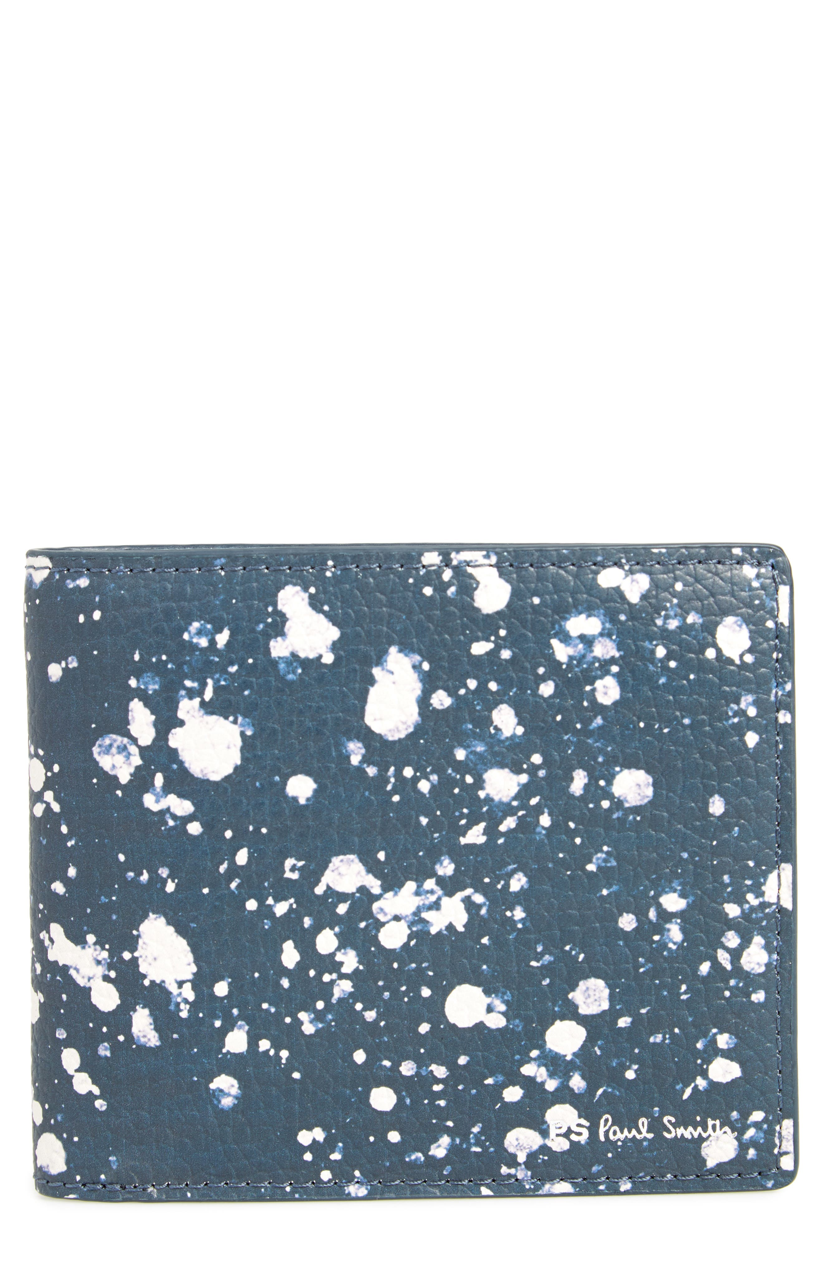 Splatter Print Bifold Wallet,                             Main thumbnail 1, color,                             Navy