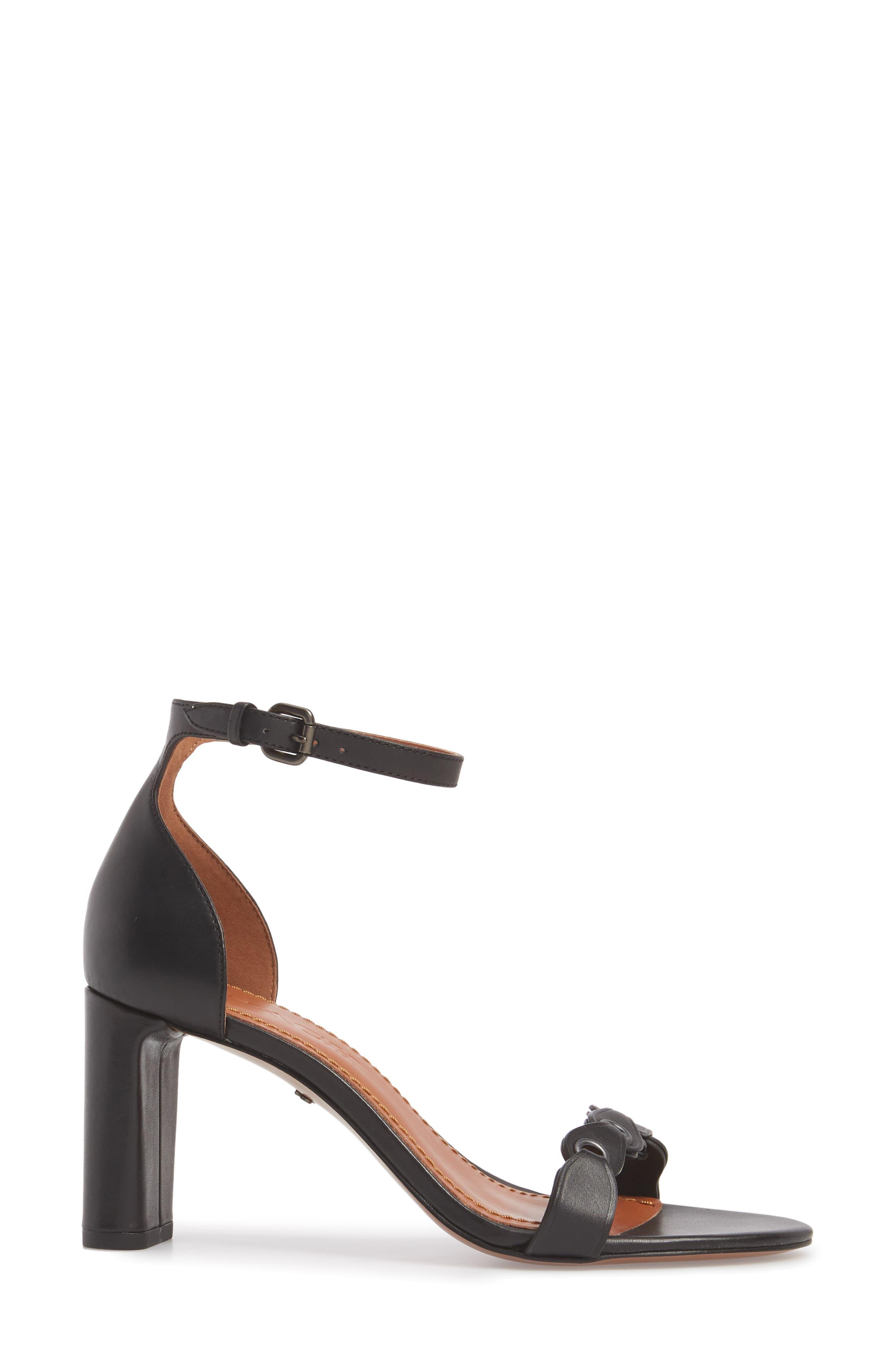 Link Ankle Strap Sandal,                             Alternate thumbnail 3, color,                             Black Leather