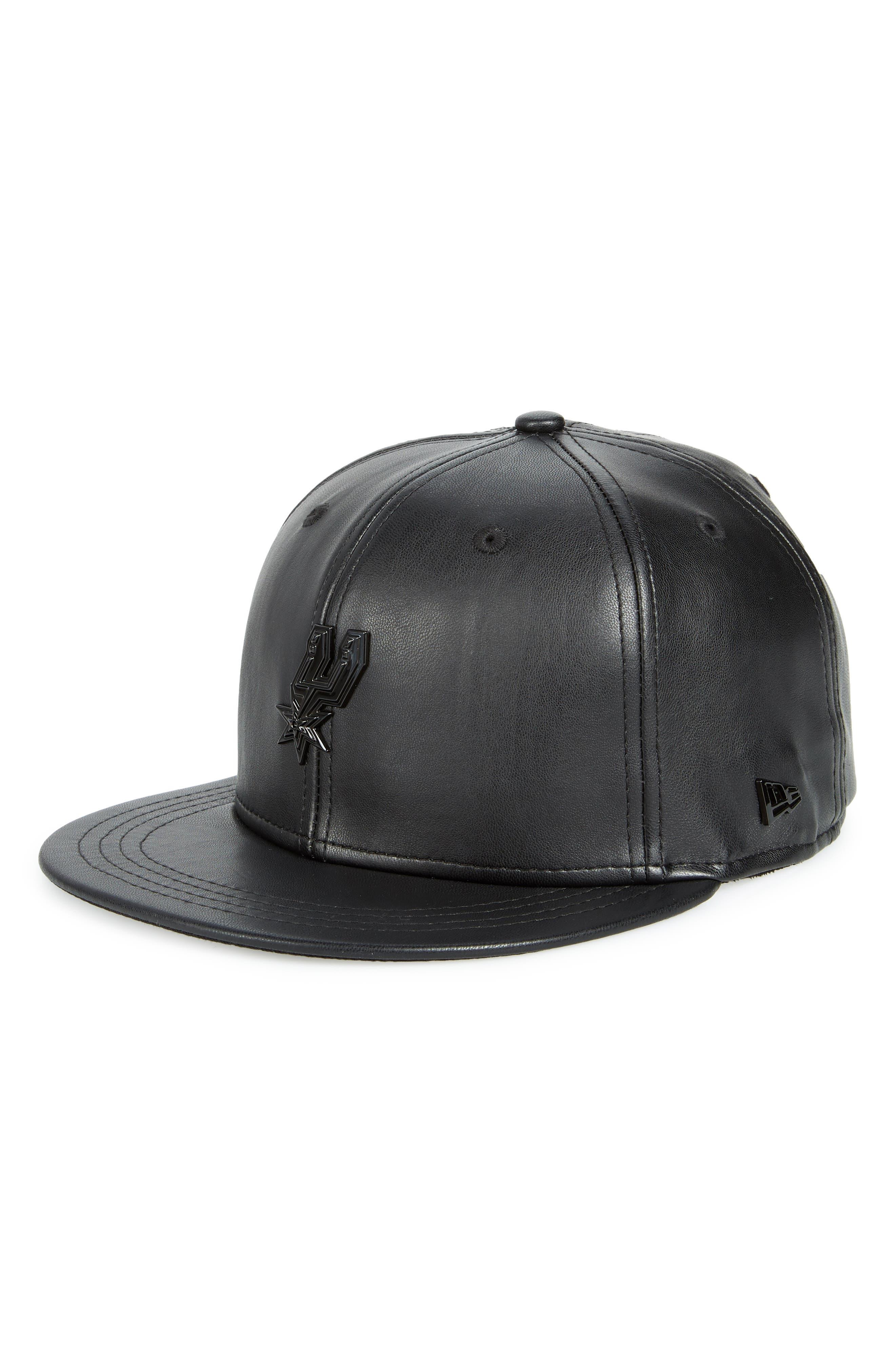 New Era NBA Glossy Faux Leather Snapback Cap,                             Main thumbnail 1, color,                             San Antonio Spurs