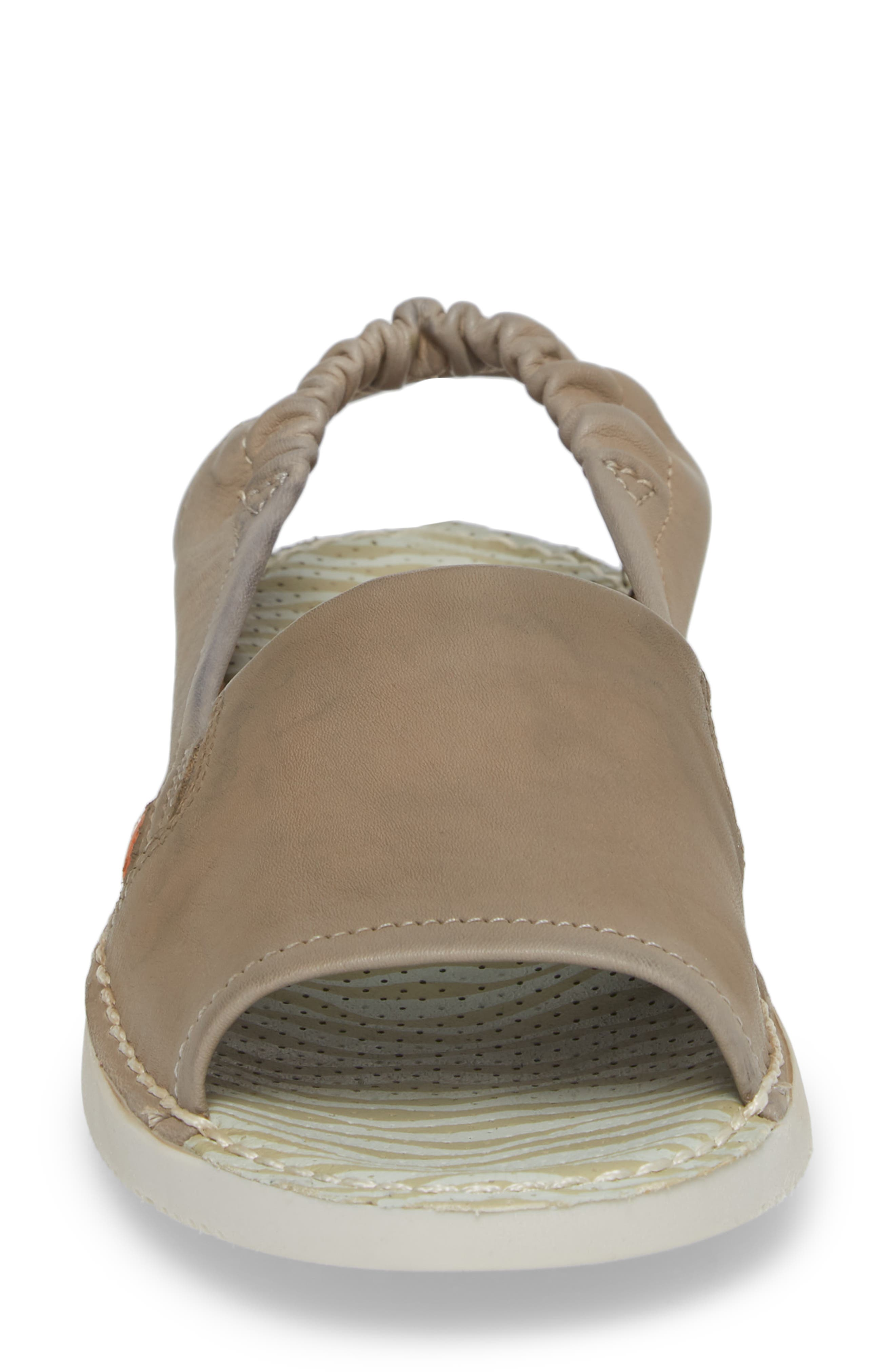 Tee Flat Sandal,                             Alternate thumbnail 4, color,                             Taupe Leather