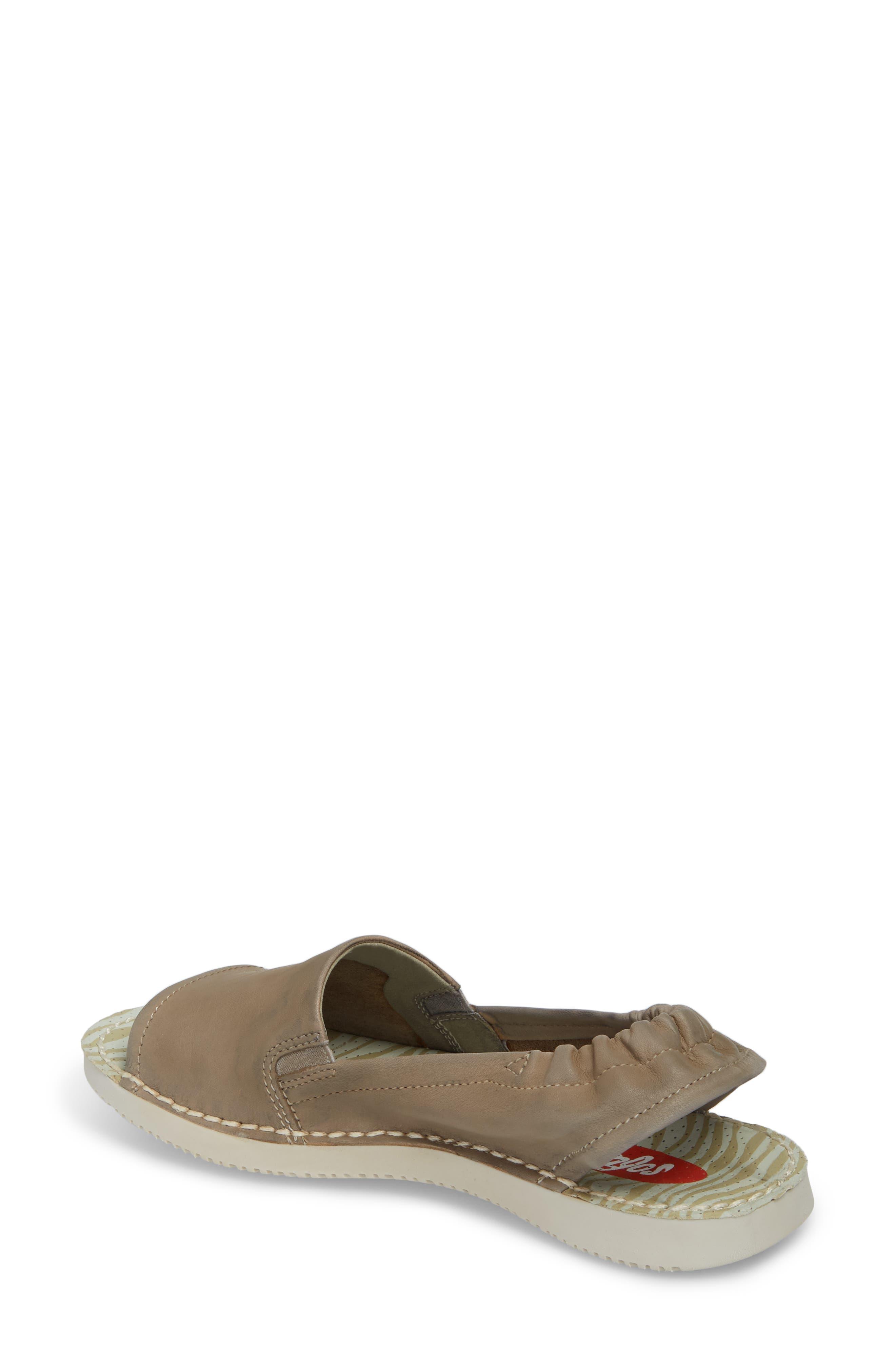 Tee Flat Sandal,                             Alternate thumbnail 2, color,                             Taupe Leather