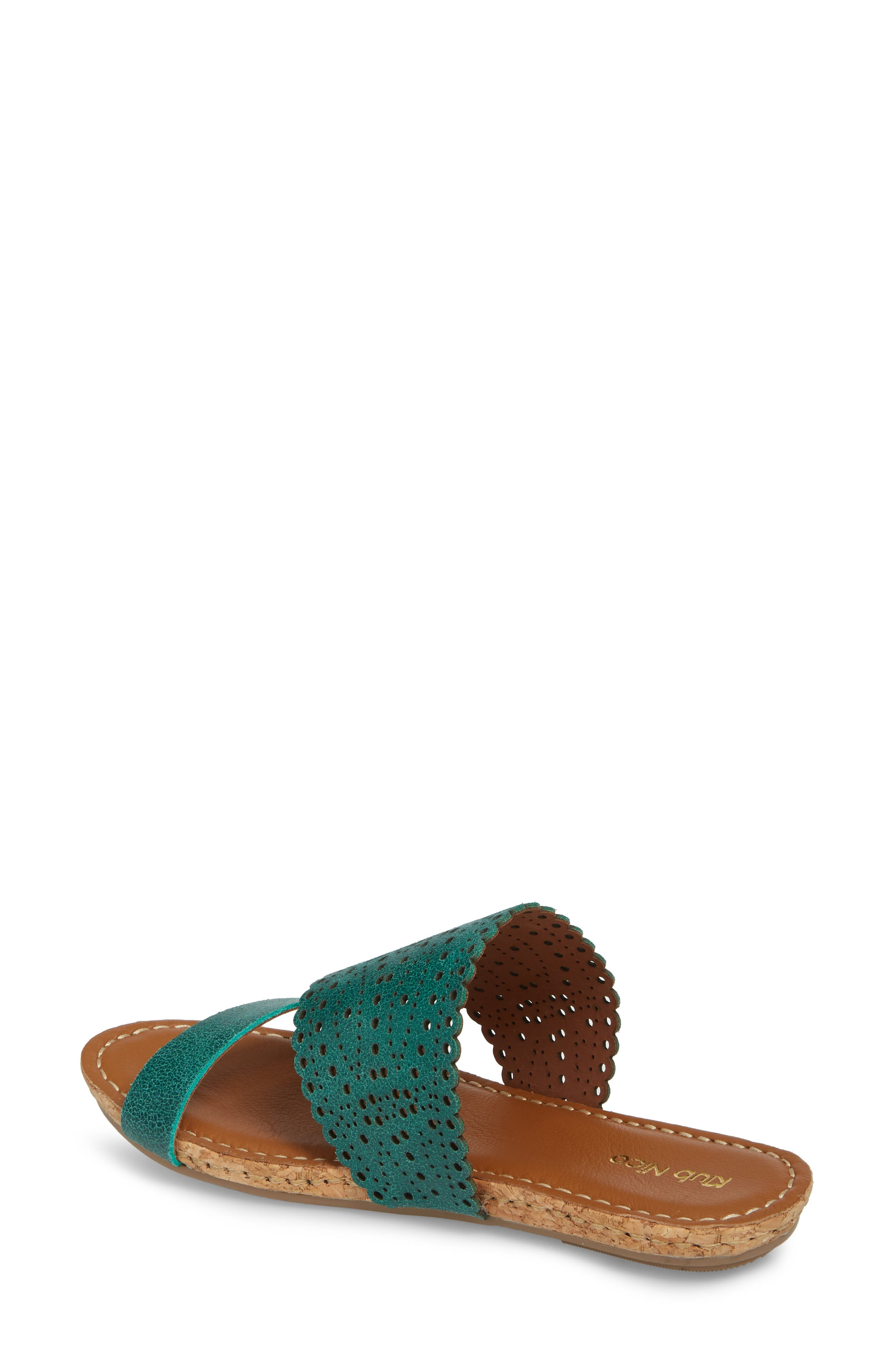 Ginette Perforated Slide Sandal,                             Alternate thumbnail 2, color,                             Ivy Leather