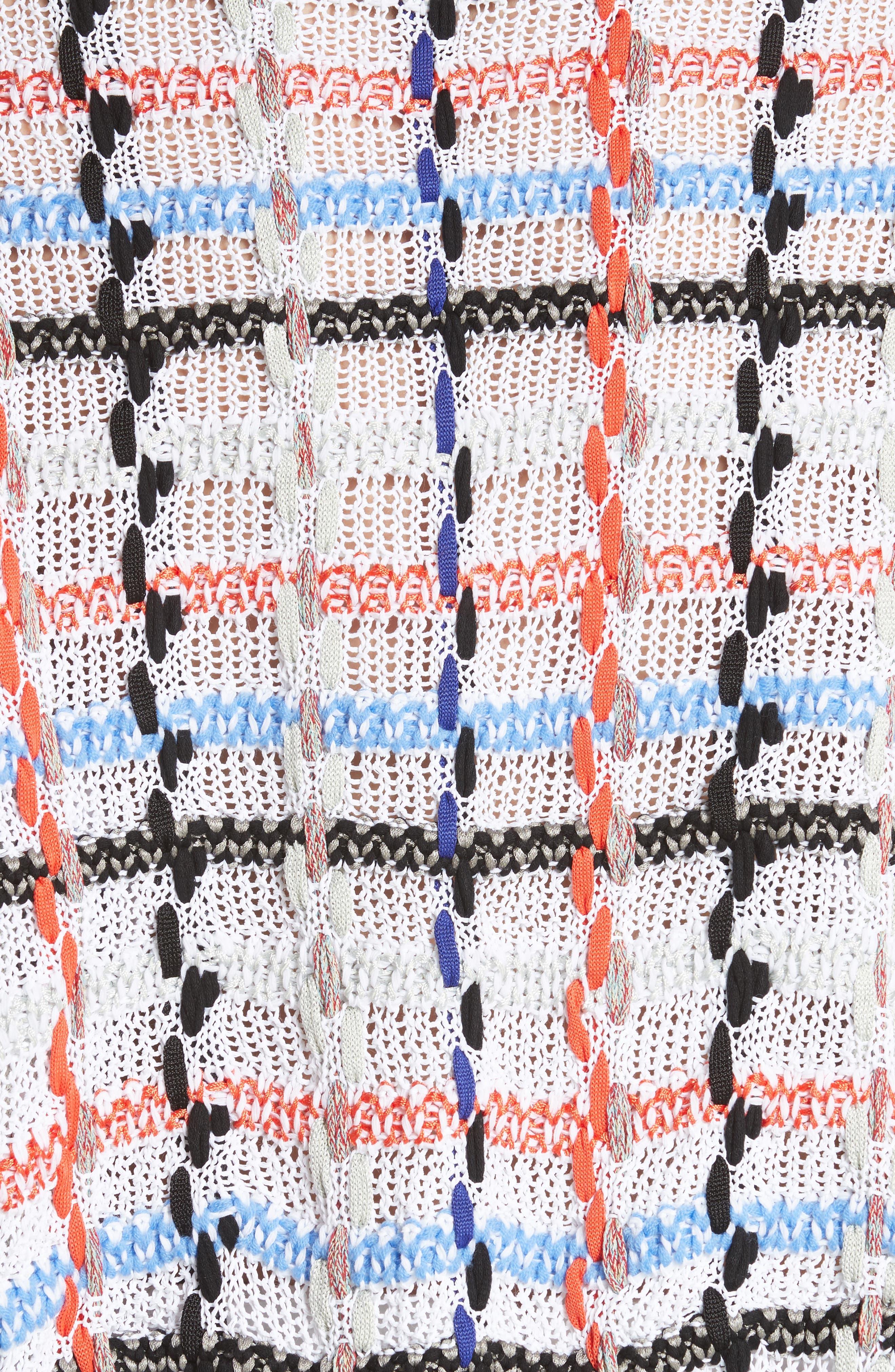 Lloyd Ribbon Detail Plaid Sweater,                             Alternate thumbnail 5, color,                             White