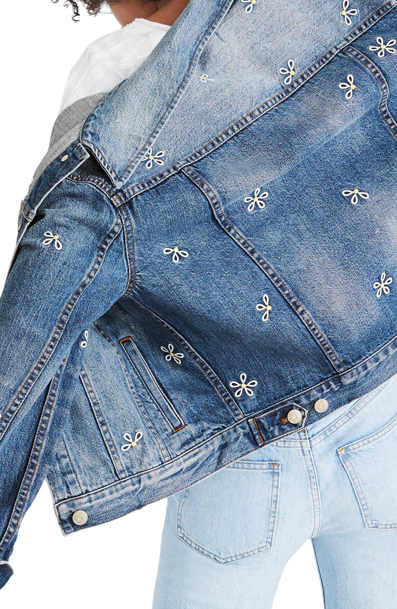 Daisy Embroidered Boxy Crop Denim Jacket,                             Alternate thumbnail 2, color,                             Brook Hill Wash