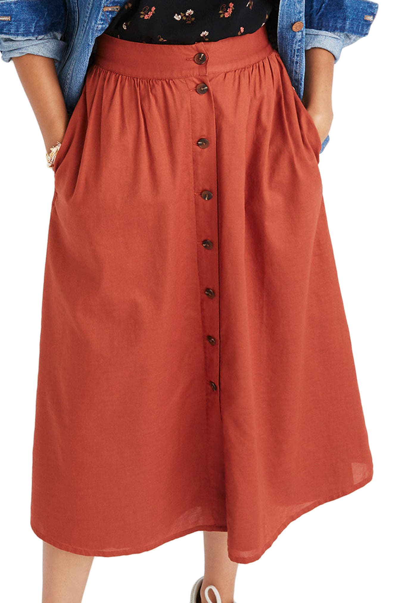 Palisade Button Front Midi Skirt,                             Main thumbnail 1, color,                             Rusty Torch