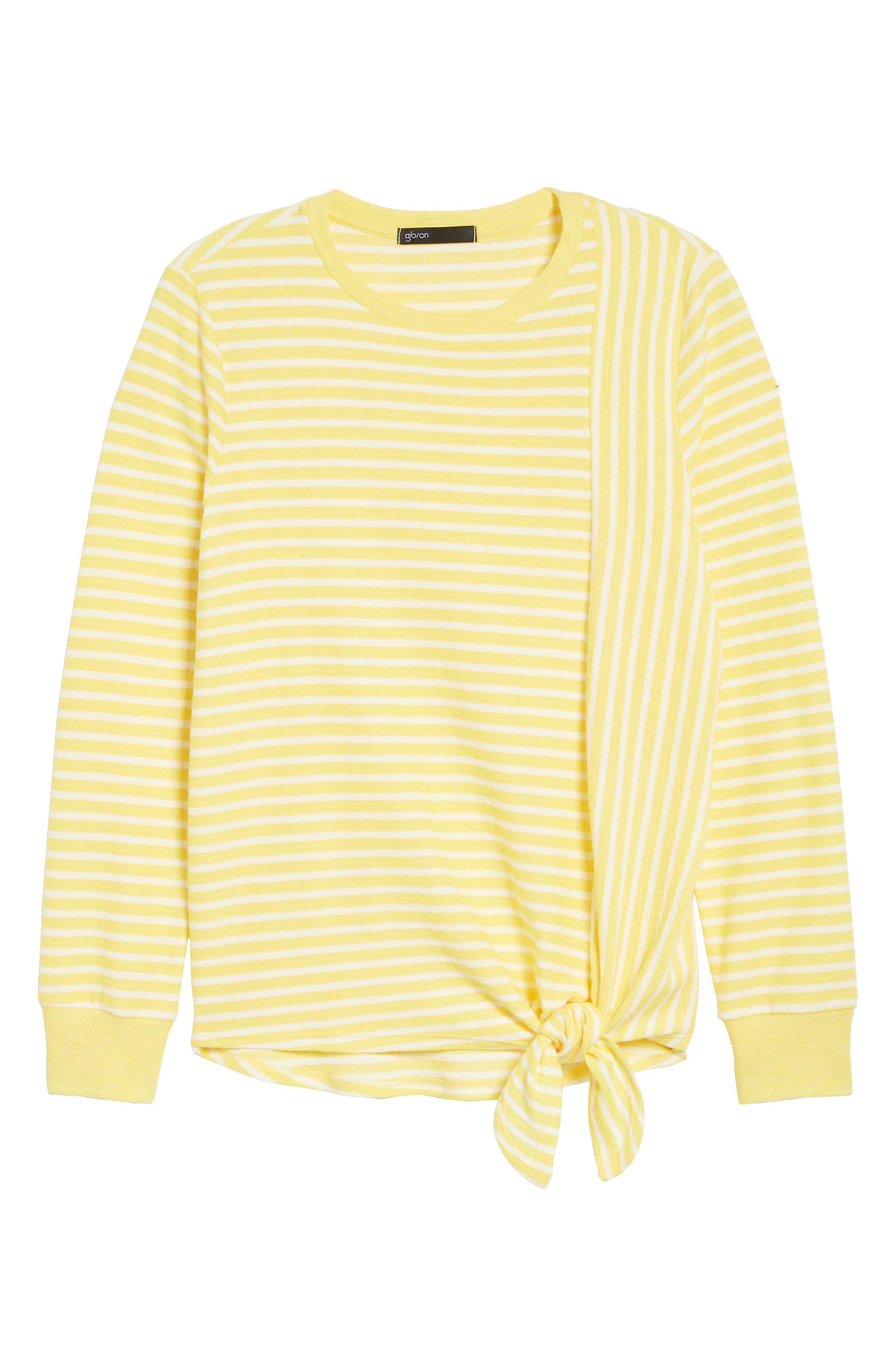 Tie Front Stripe Top,                             Alternate thumbnail 7, color,                             Yellow/ White Stripe