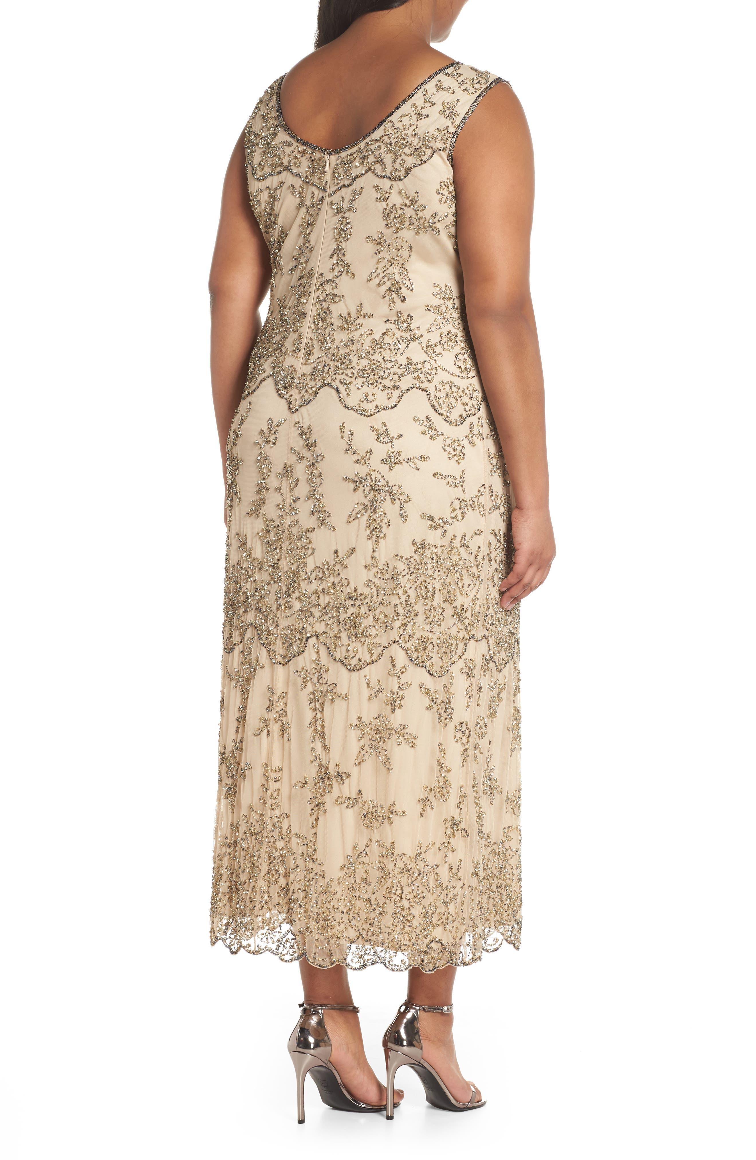Embellished Bateau Neck Long Dress,                             Alternate thumbnail 2, color,                             Champagne