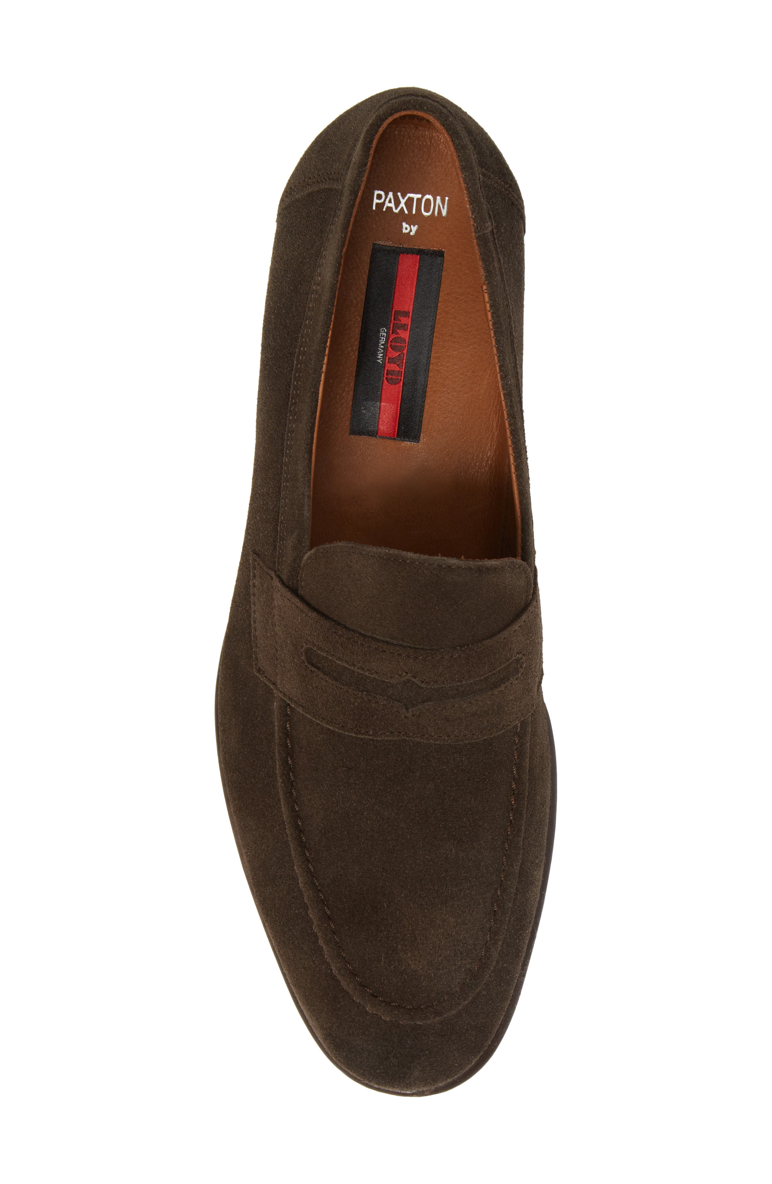 Paxton Penny Loafer,                             Alternate thumbnail 5, color,                             Brown Suede