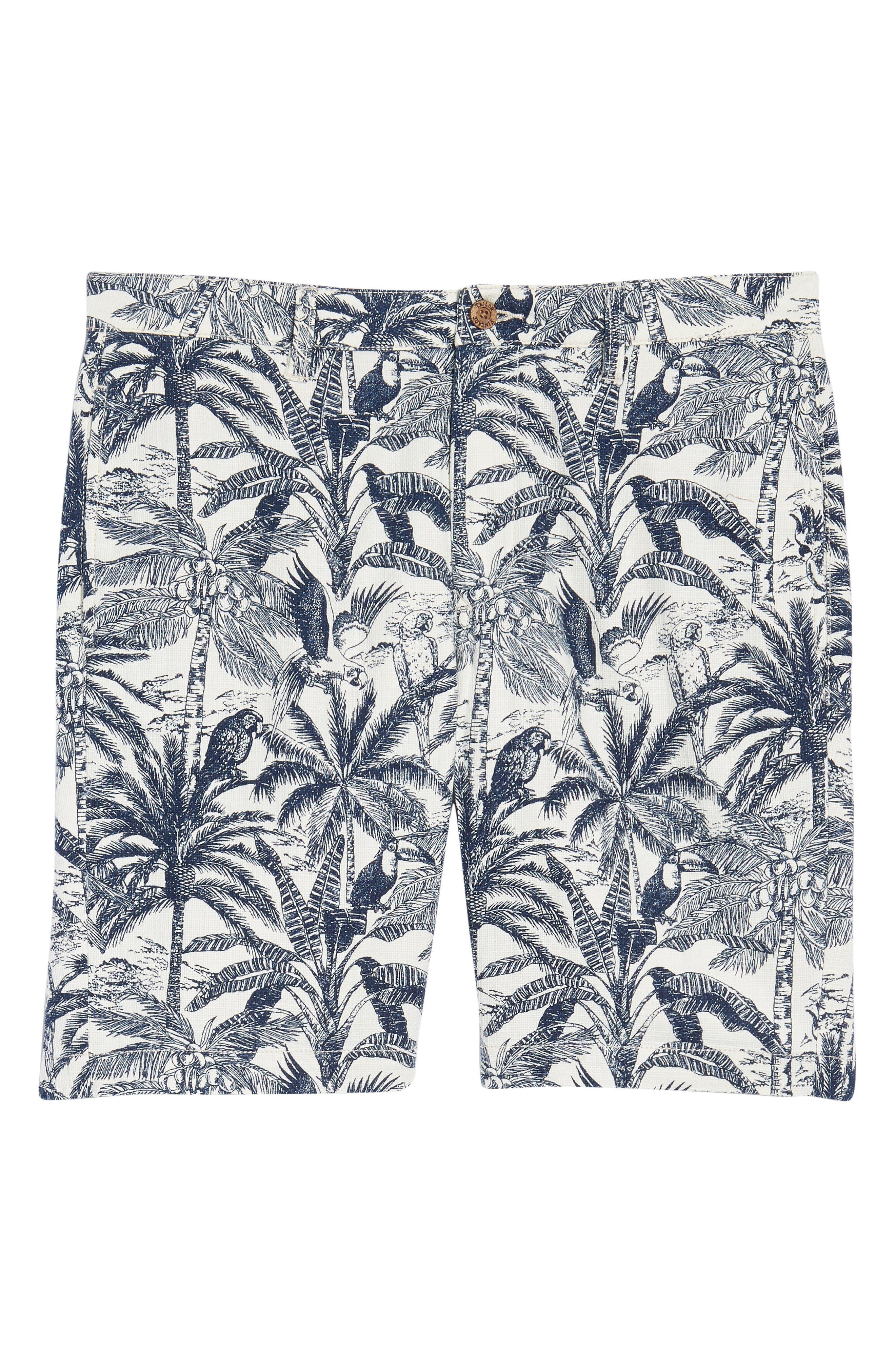 Cotton & Linen Shorts,                             Alternate thumbnail 6, color,                             White Palm Parrot Print