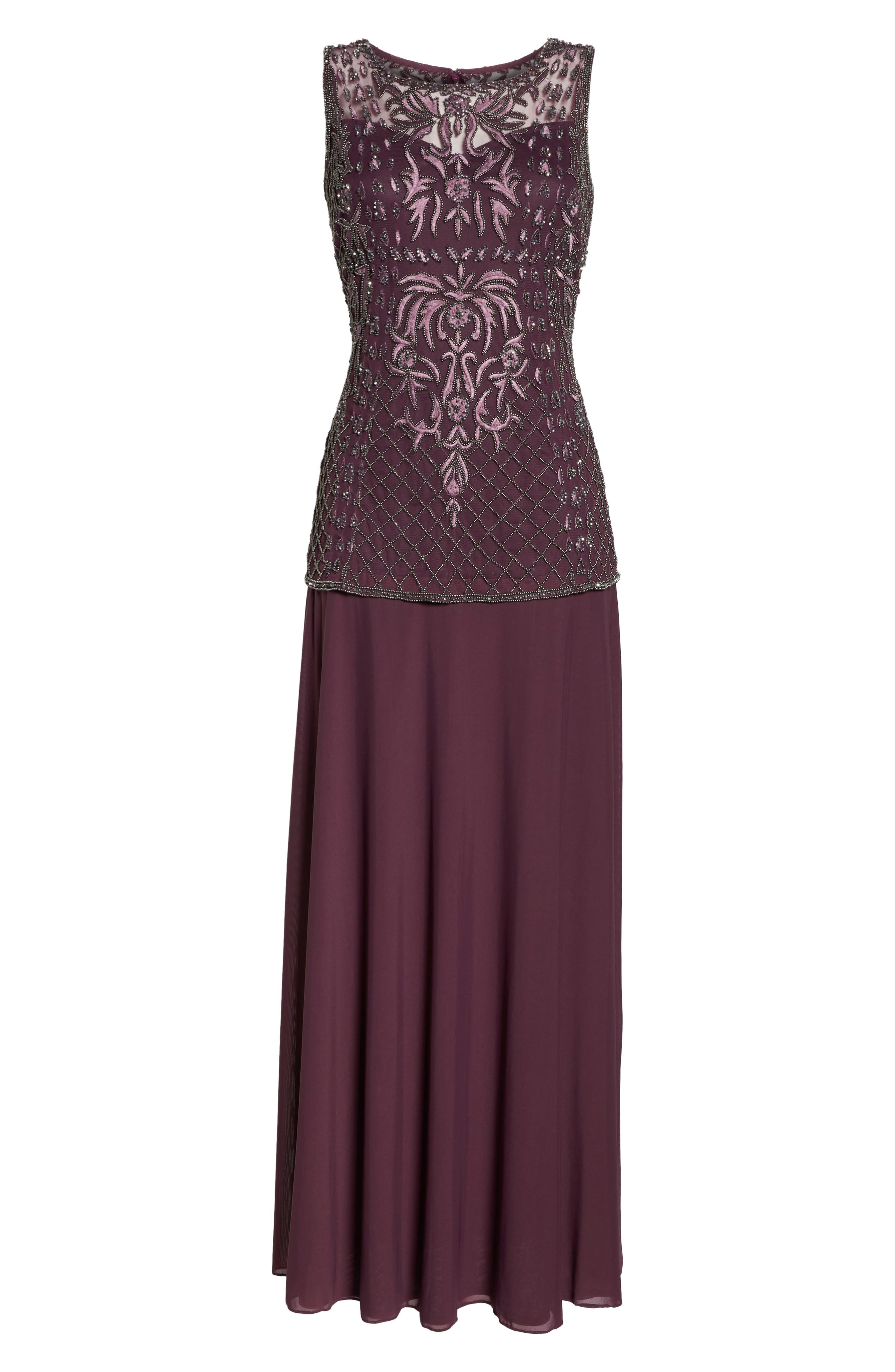 Beaded Bodice Mock Two-Piece Gown,                             Alternate thumbnail 6, color,                             Plum
