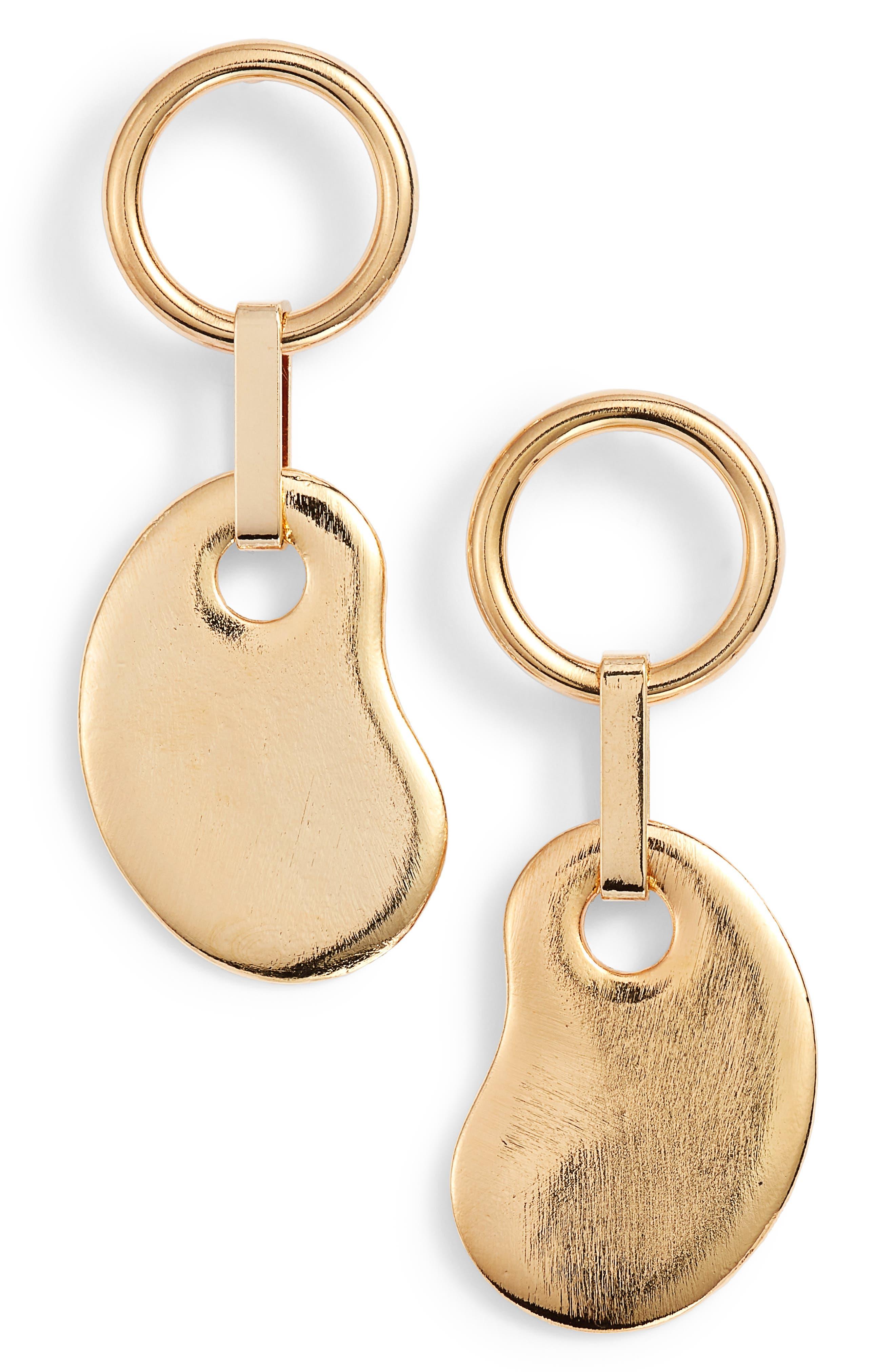 Amoeba Ring Drop Earrings,                         Main,                         color, Gold