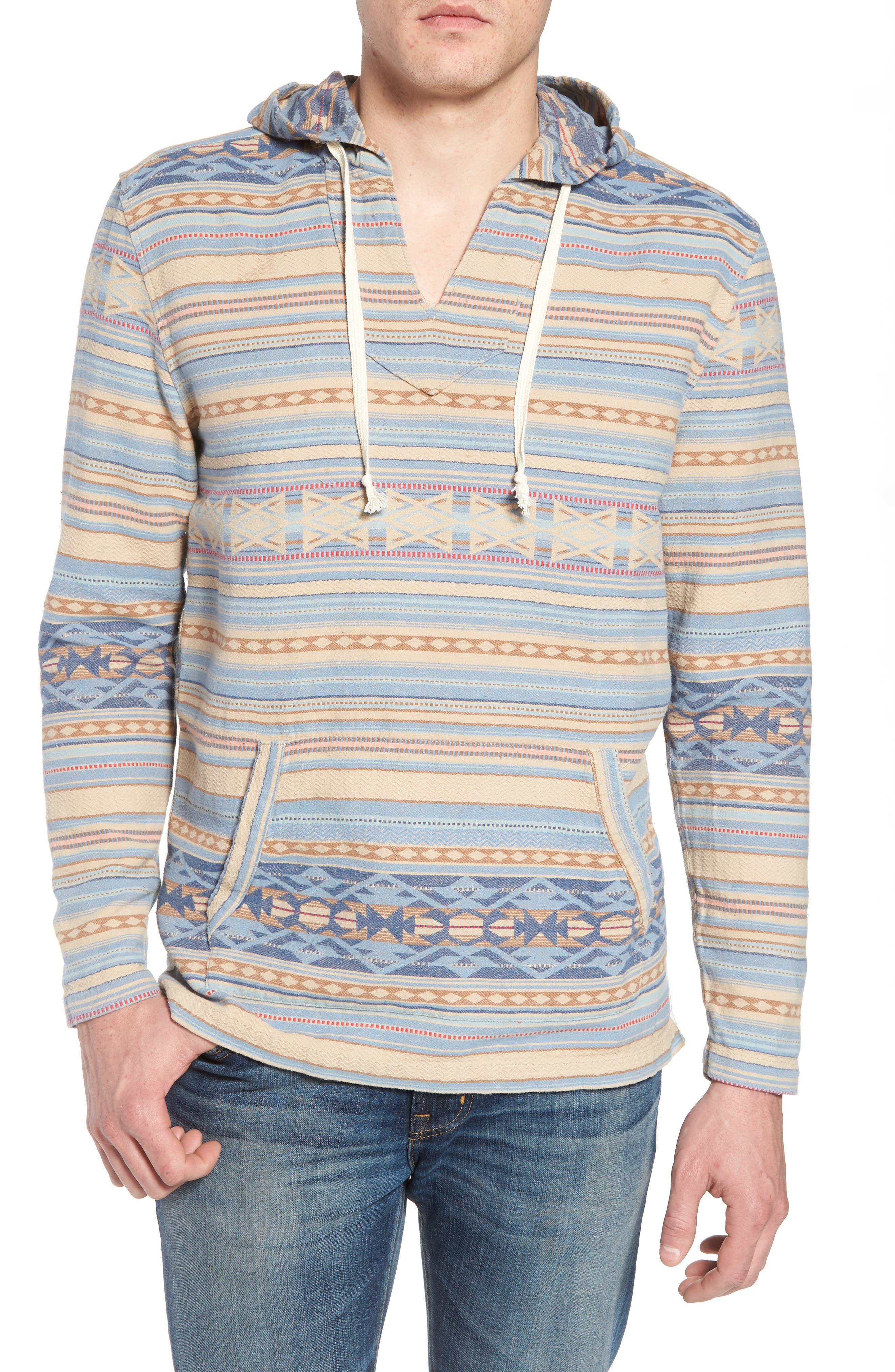 Pacific Poncho Classic Hooded Pullover,                         Main,                         color, Faded Blue