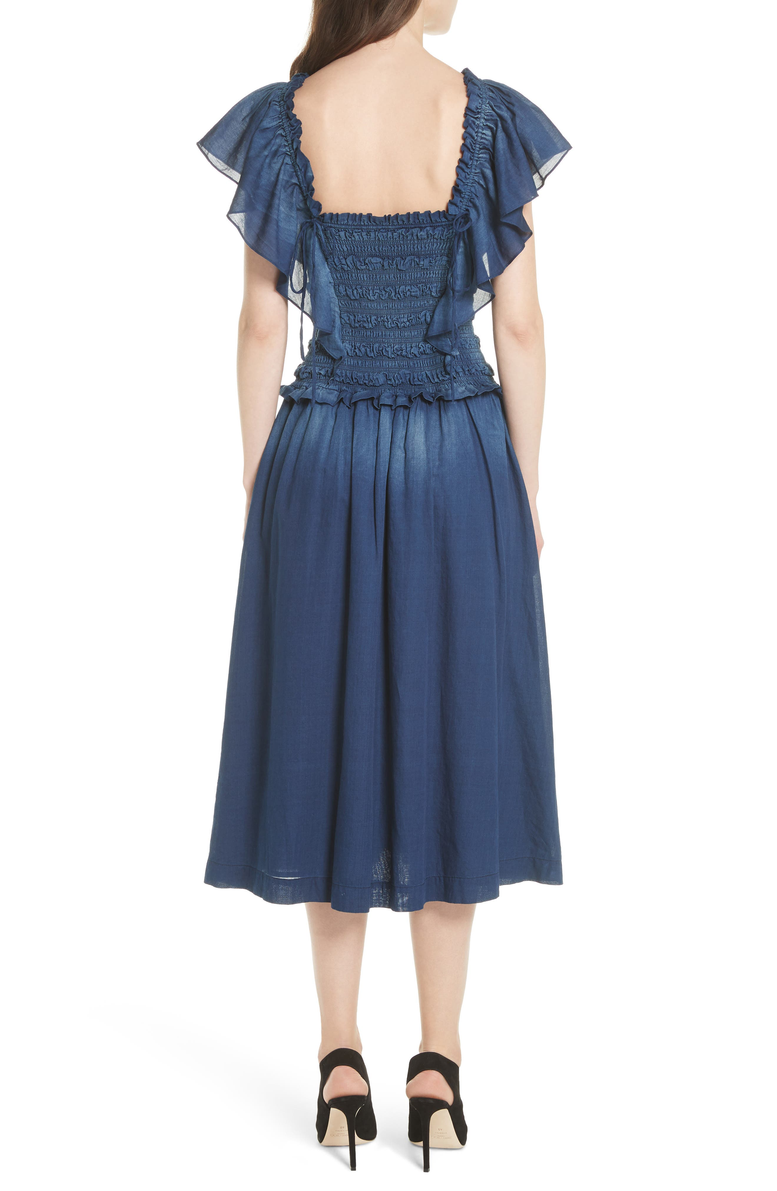 Alternate Image 2  - La Vie Rebecca Taylor Smocked Tissue Denim Dress