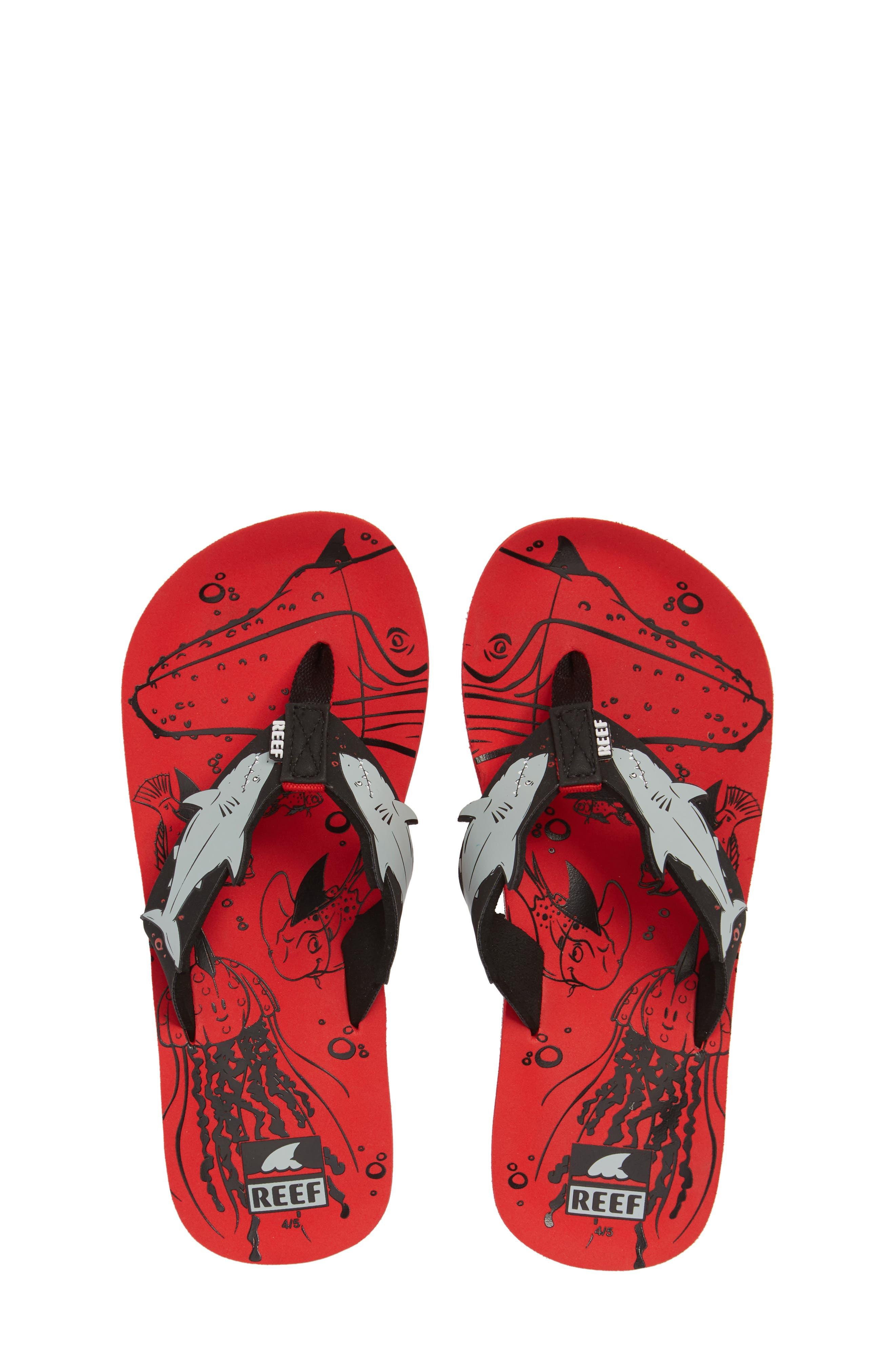 Ahi Shark Flip Flop,                         Main,                         color, Red Shark